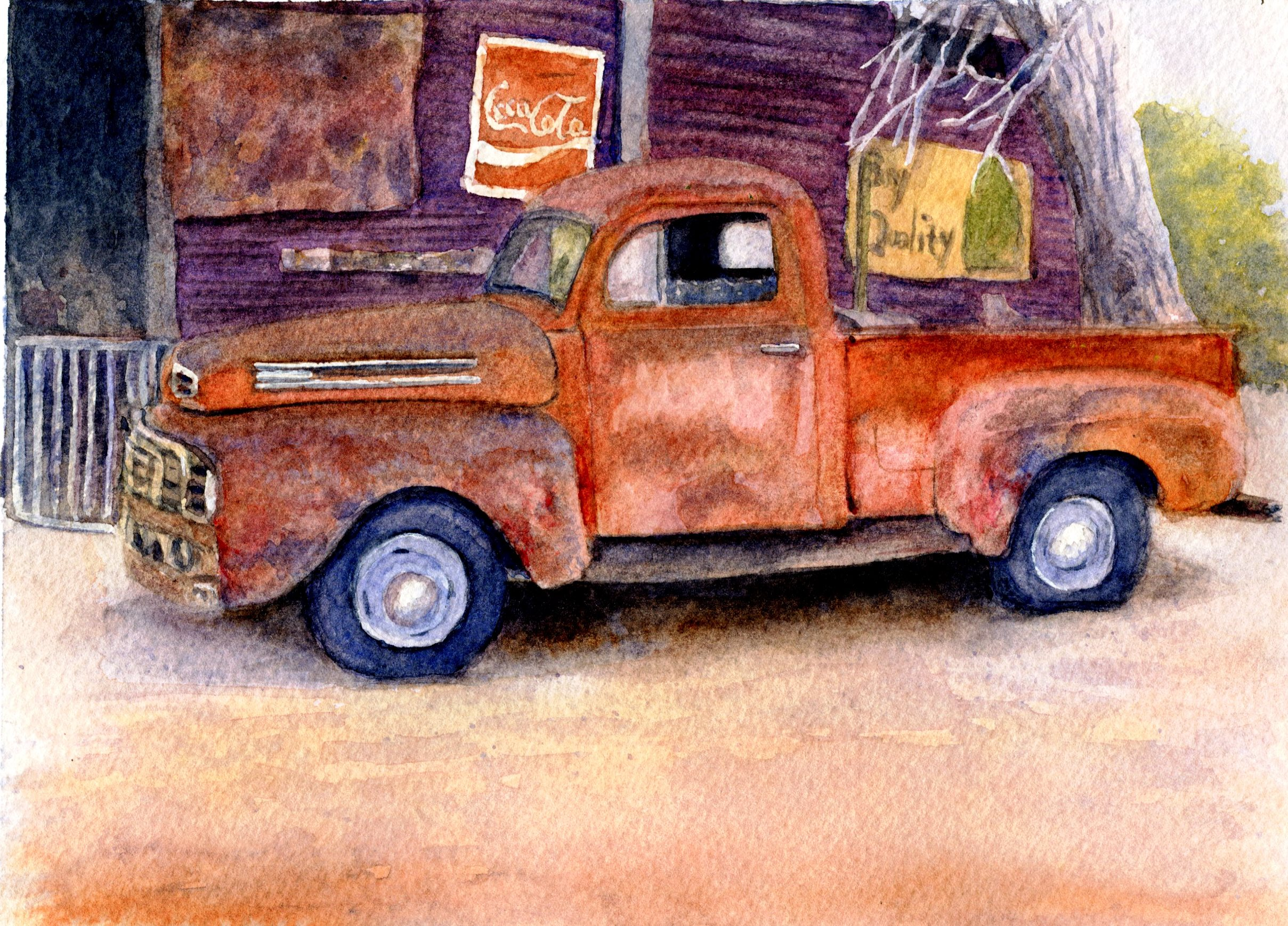 53B GAIL PECKHAM, ROUTE 66, WATERCOLOUR ON PAPER