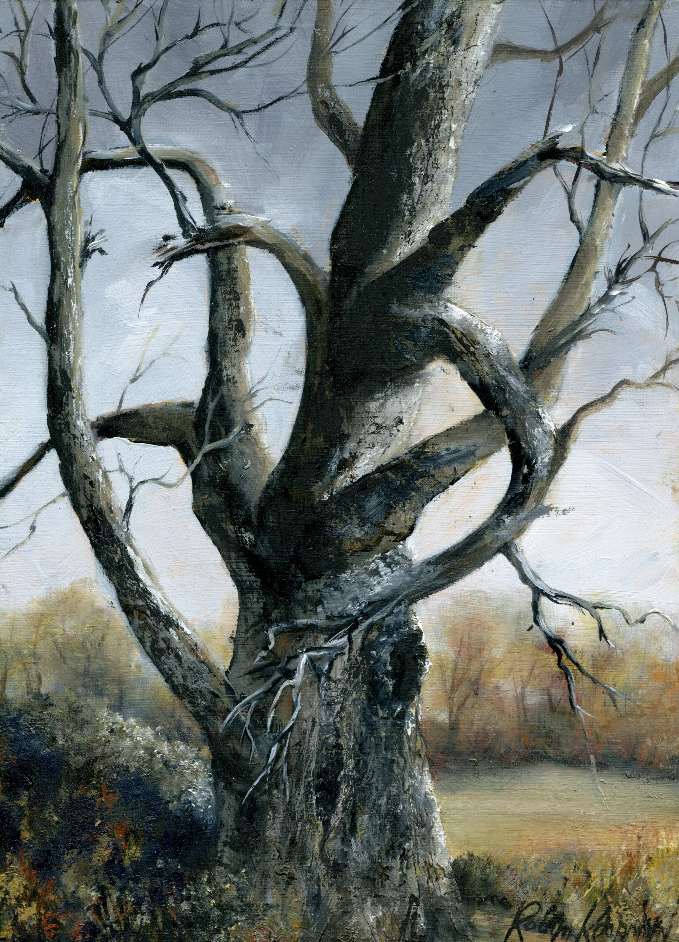62B ROBYN KOOPMAN, DEAD TREE IN WINTER, OIL ON BOARD