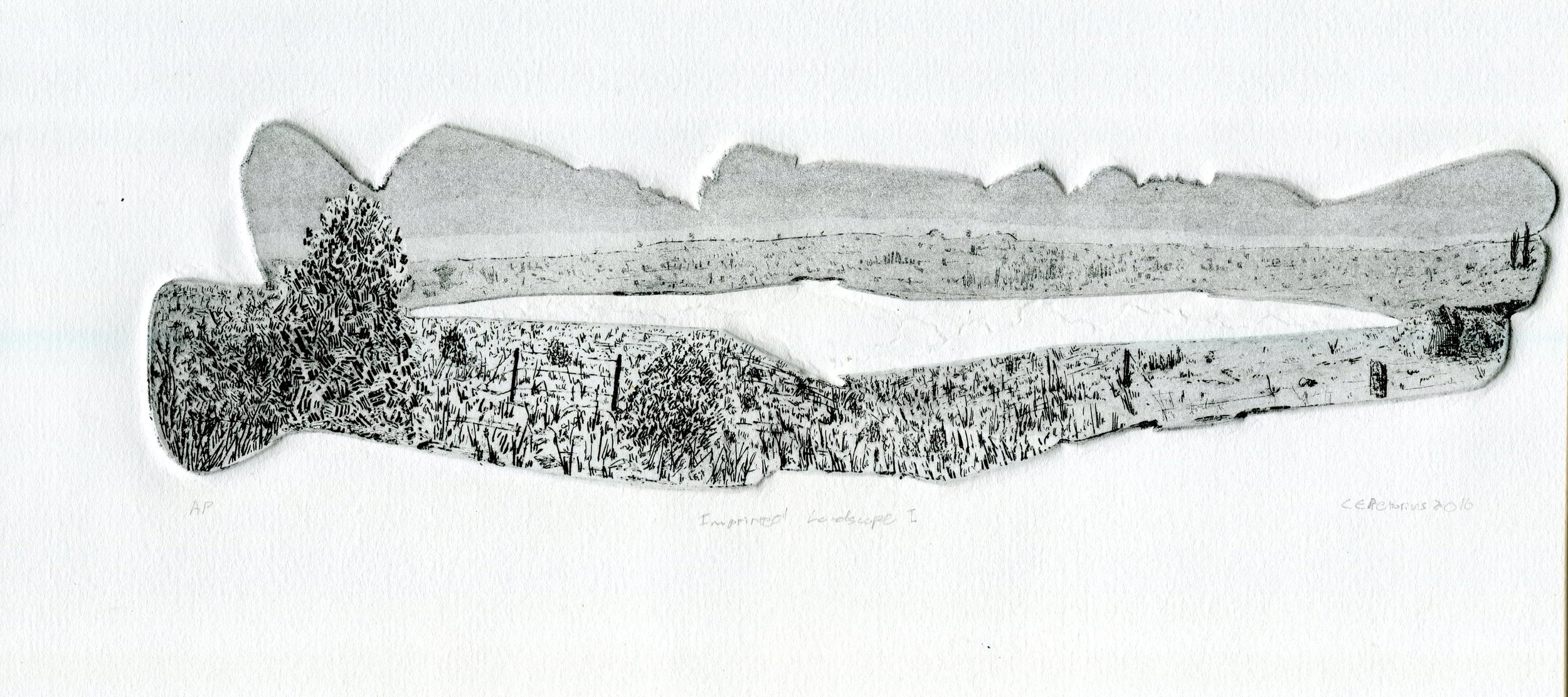 82A ELOFF PRETORIUS, IMPRINTED LANDSCAPE 1, ETCHING ON PAPER