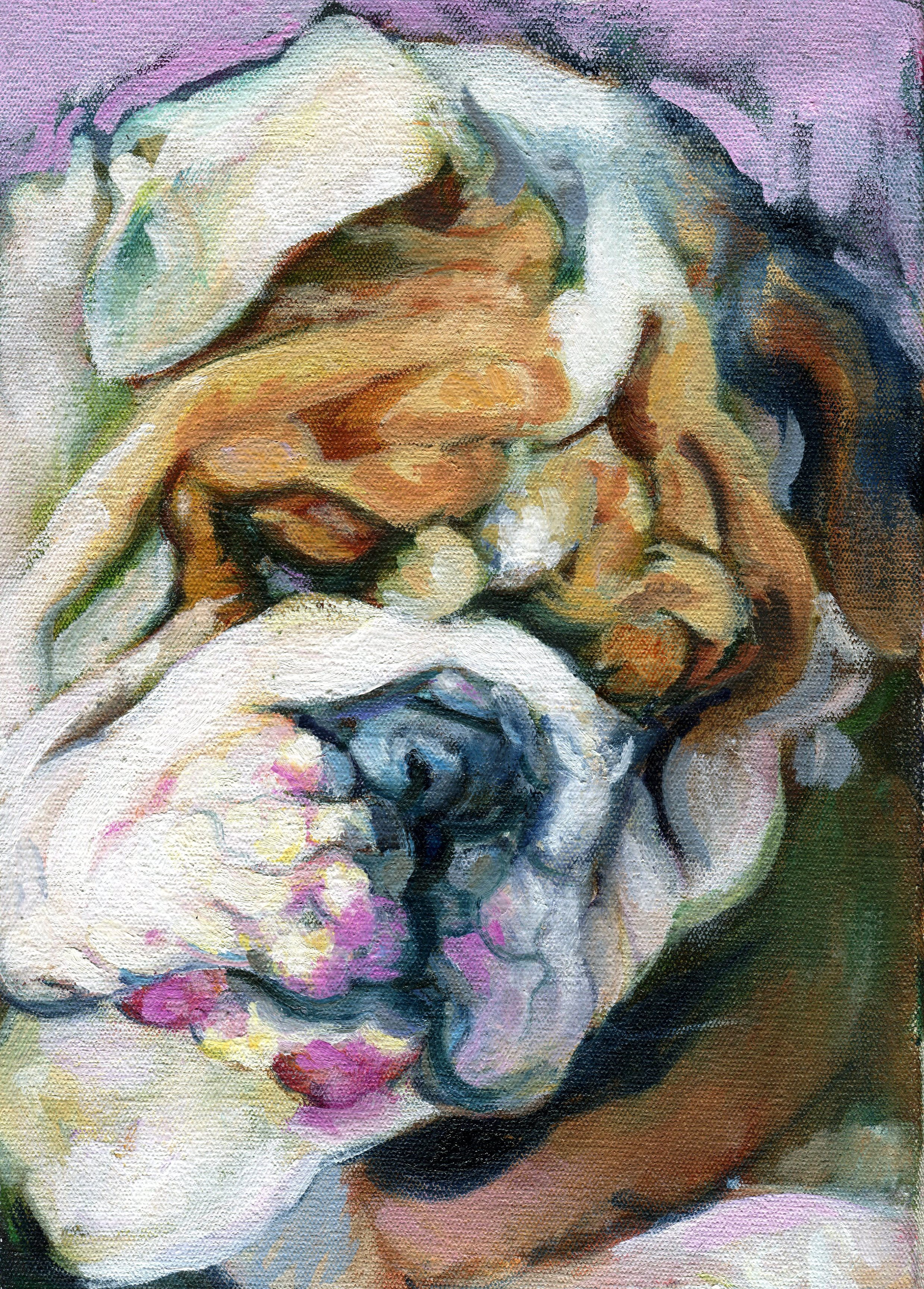 84B CATHERINE RAPHAEL, MY BULLY, OIL ON CANVAS