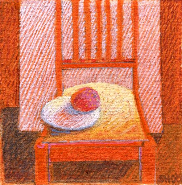 92A SUSAN HELM DAVIES, ORANGE CHAIR, WATERCOLOUR & GOUACHE ON CARD