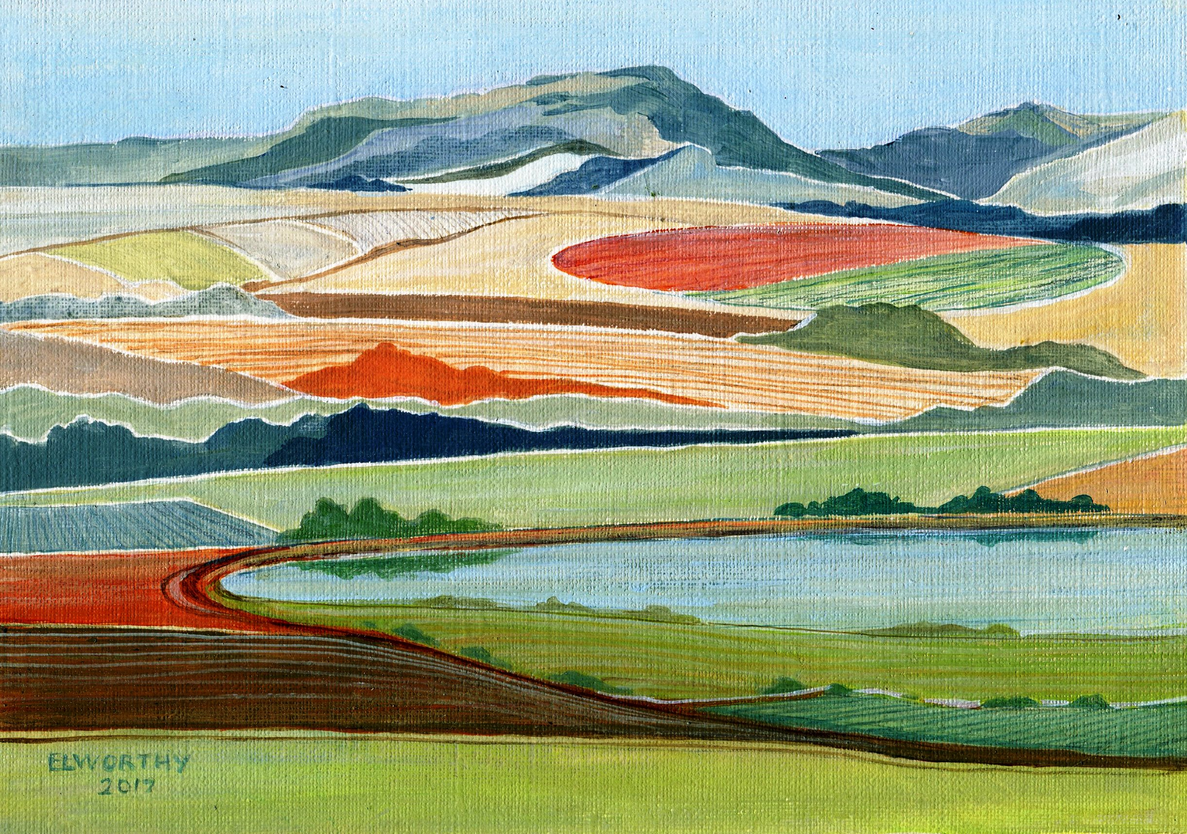 93A JEAN ELWORTHY, TUGELA LANDS, ACRYLIC ON CANVAS CARD