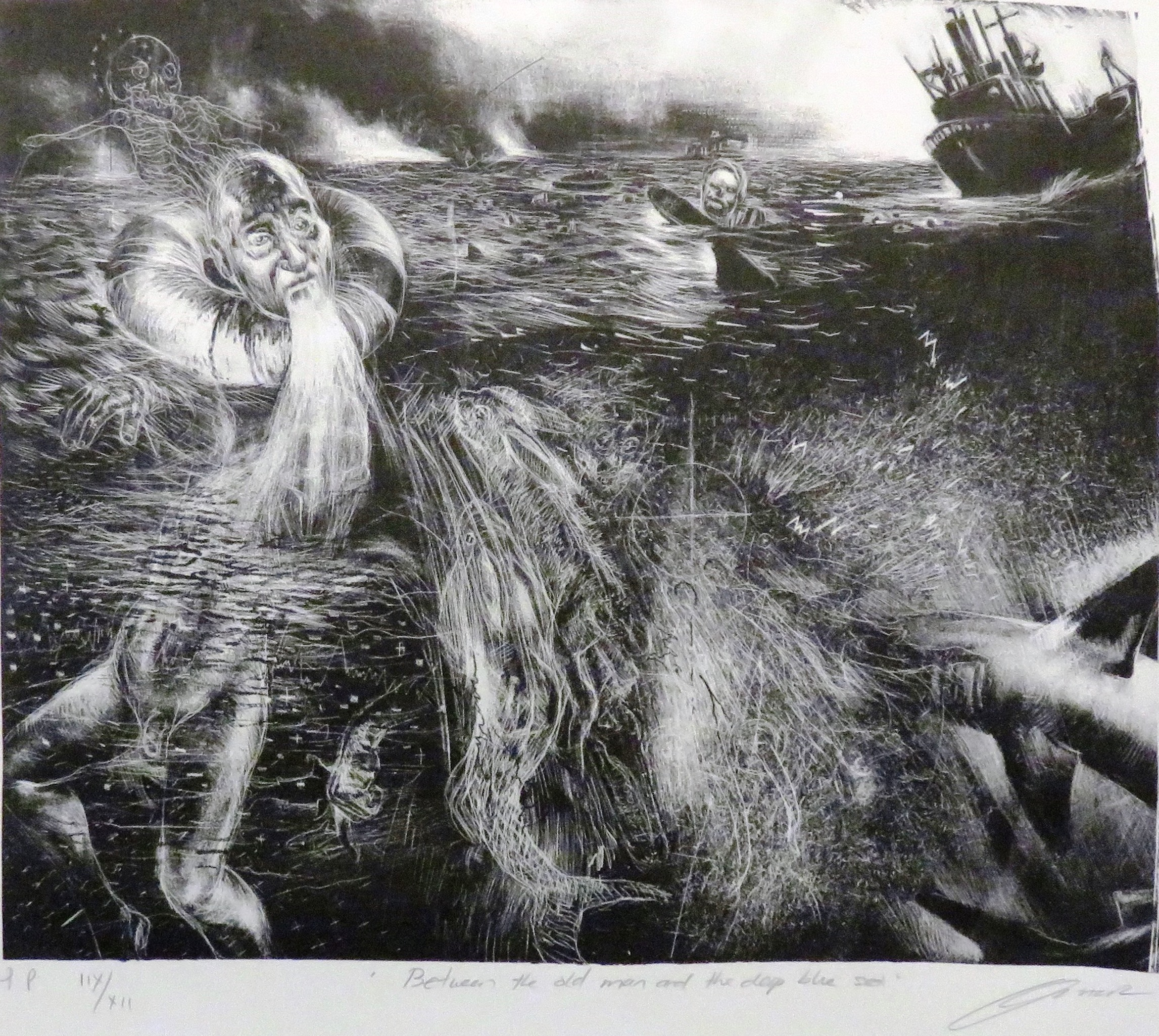 99A DIANE VICTOR, BETWEEN THE OLD MAN & DEEP BLUE SEA, ETCHING ON PAPER