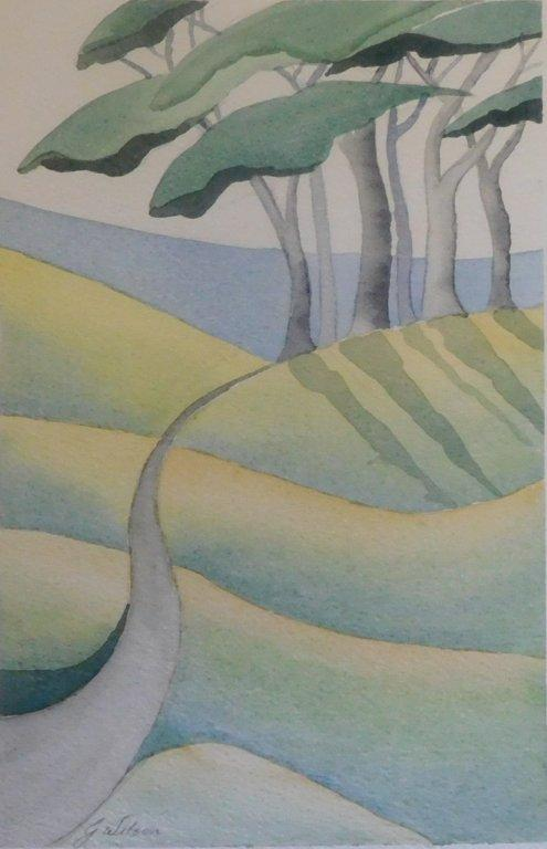 01B GLENDA WILSON, LANDSCAPE IN THE STYLE OF PAUL NASH, WATERCOLOUR ON PAPER