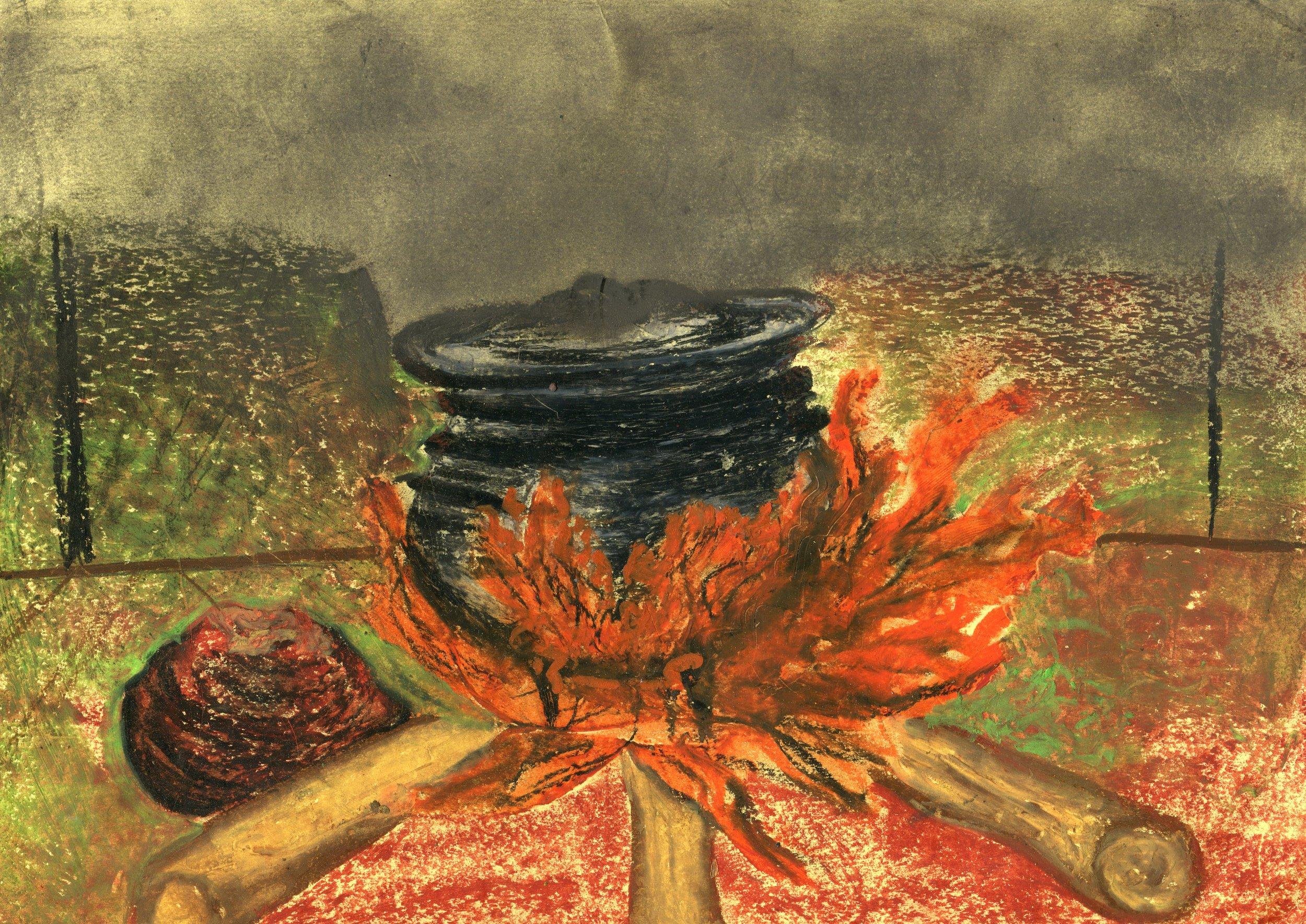 76c  Sanele Sikosana  Emlilweni  oil pastel on paper