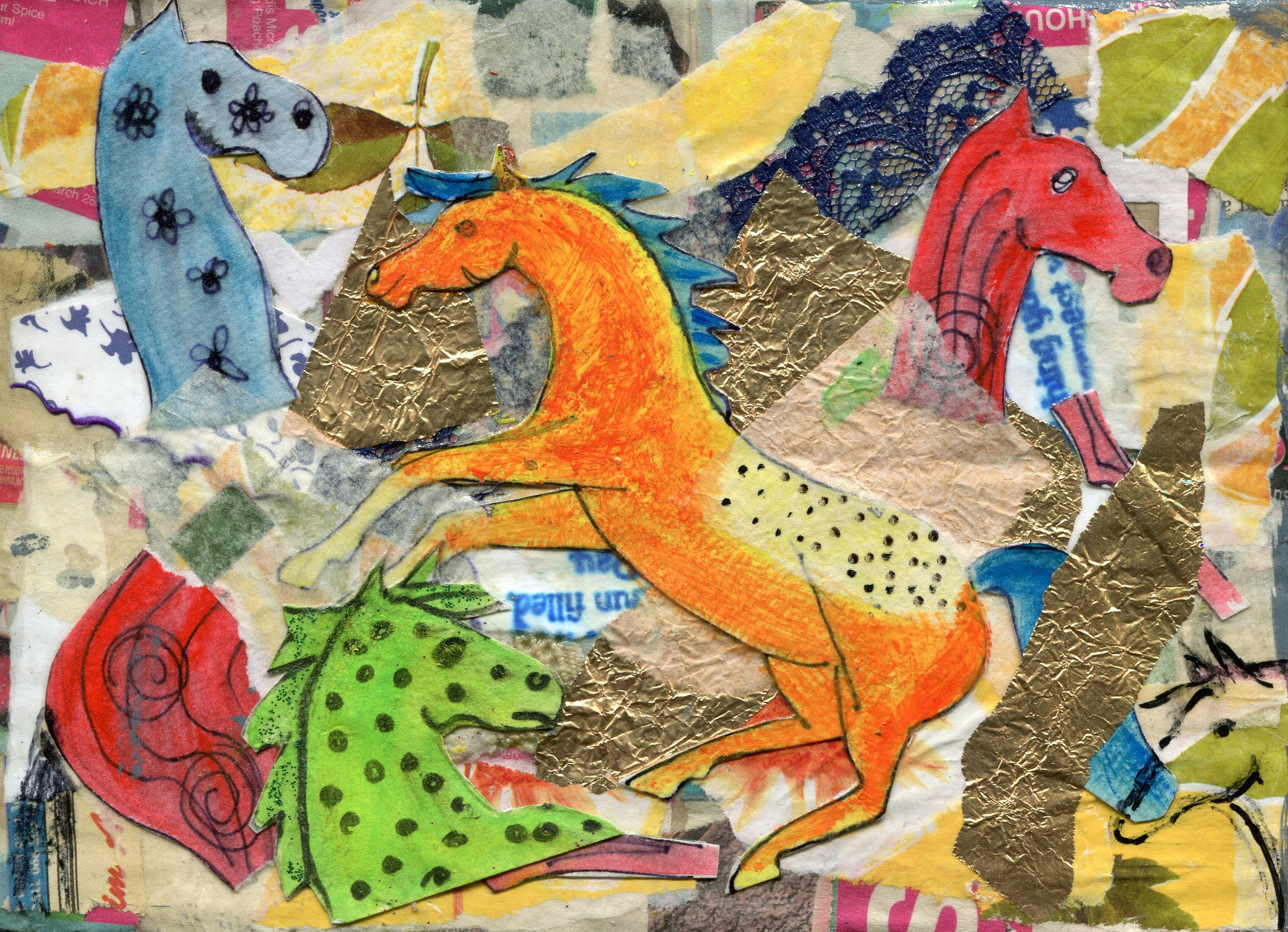 01a  Diana Cattell  Merry-go-round  collage on board