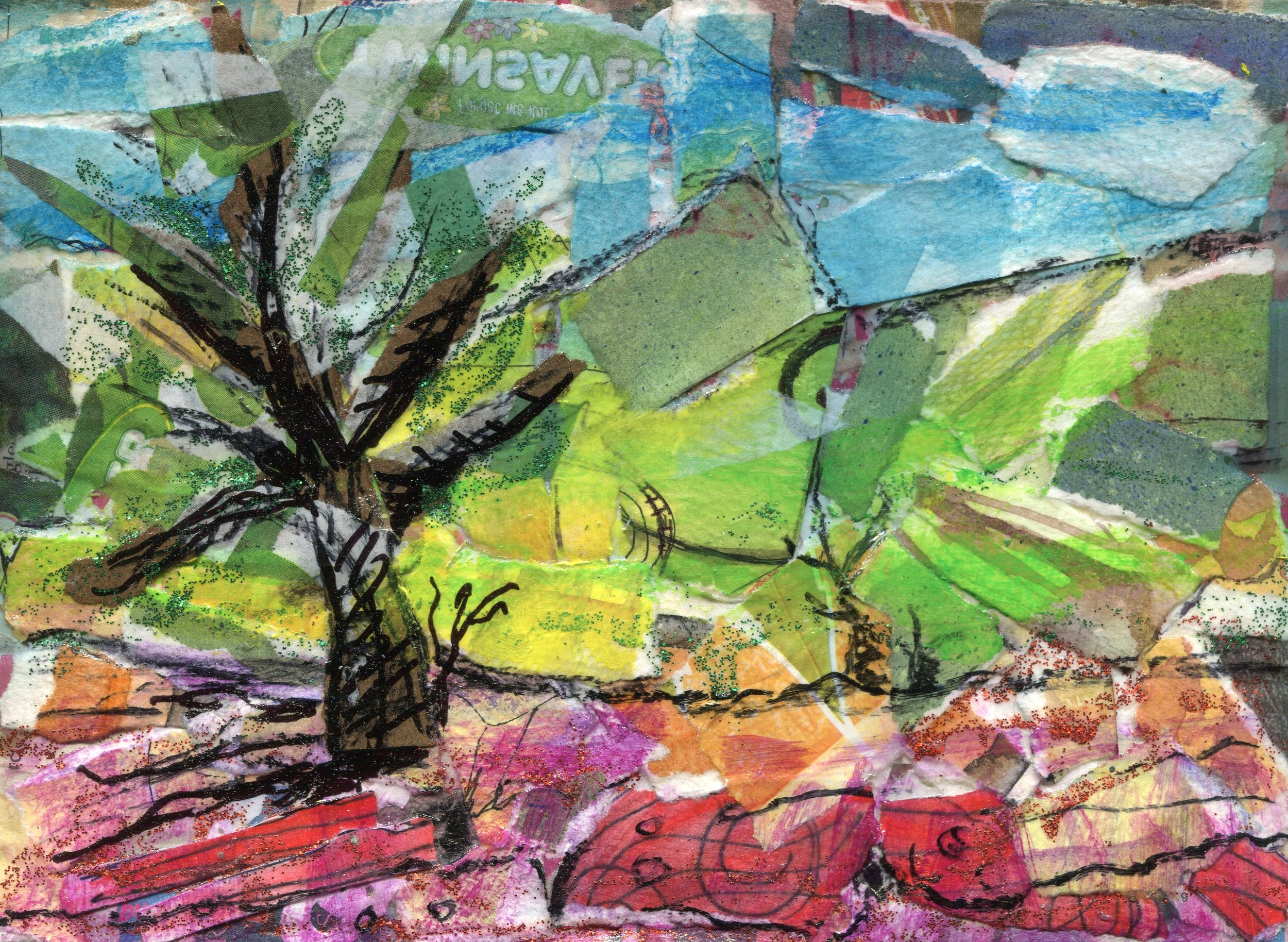01c  Diana Cattell  Landscape  collage on board