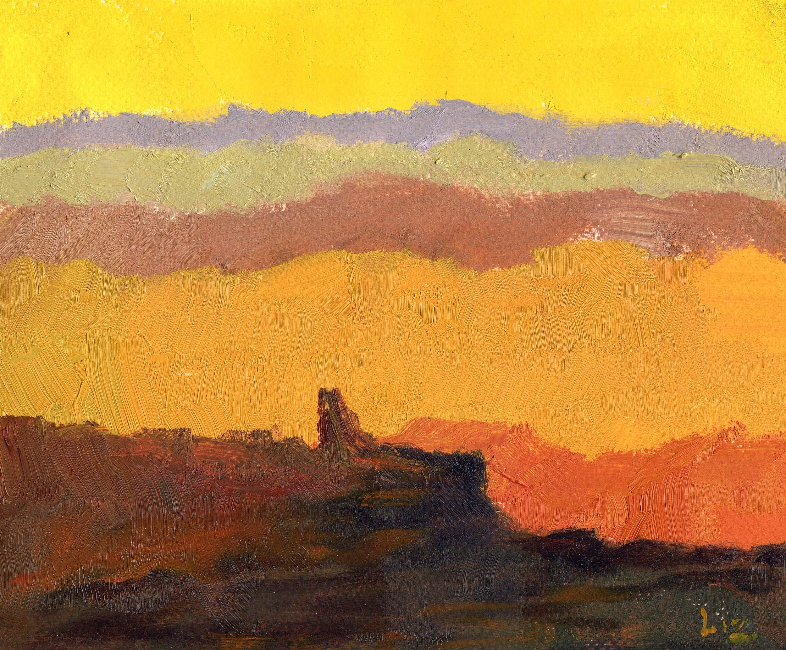 02a  Elizabeth Speight  Bergscape Sunset  oil on paper