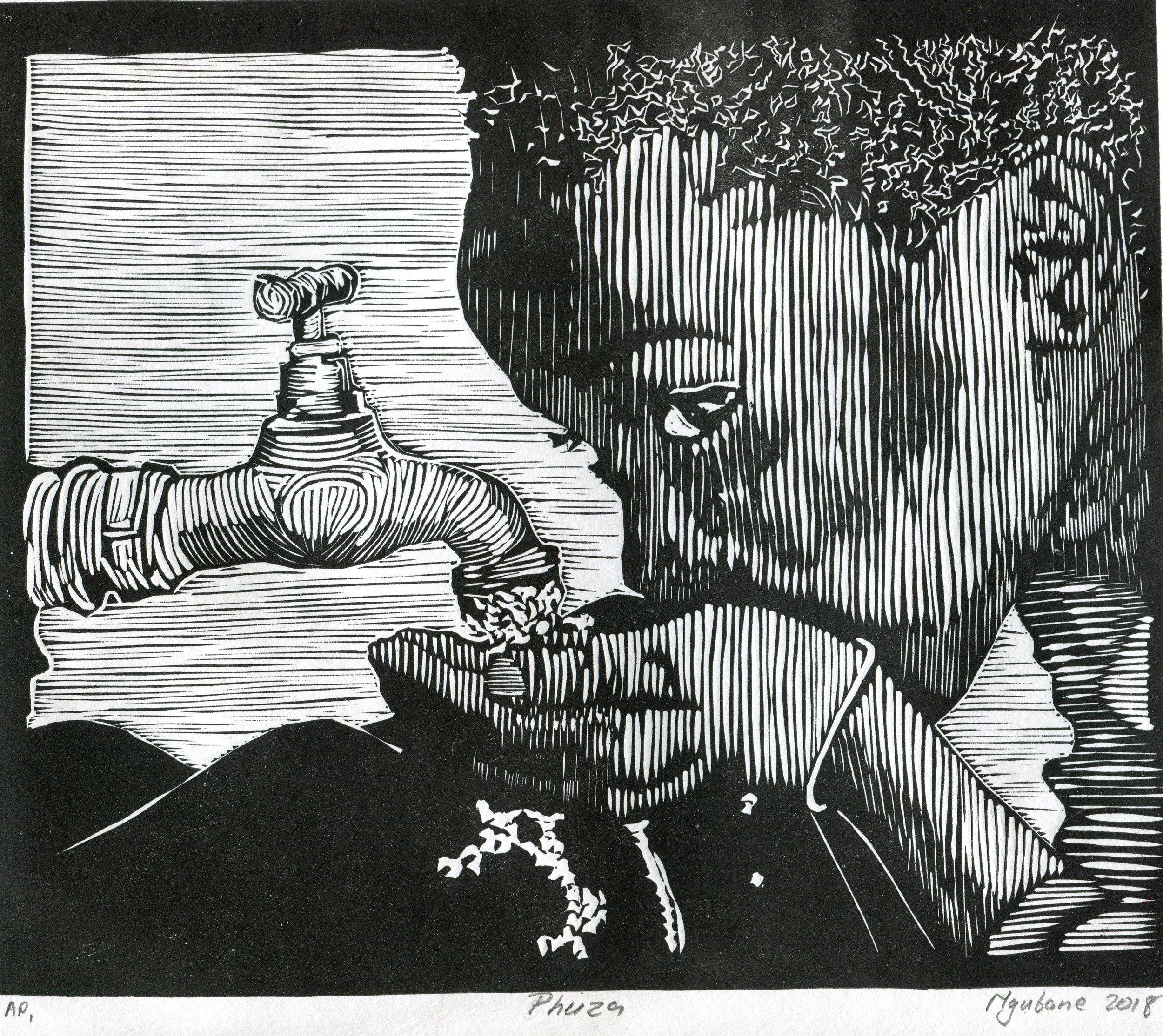 04b  Siyabonga Ngubane  Phuza  linocut print on paper