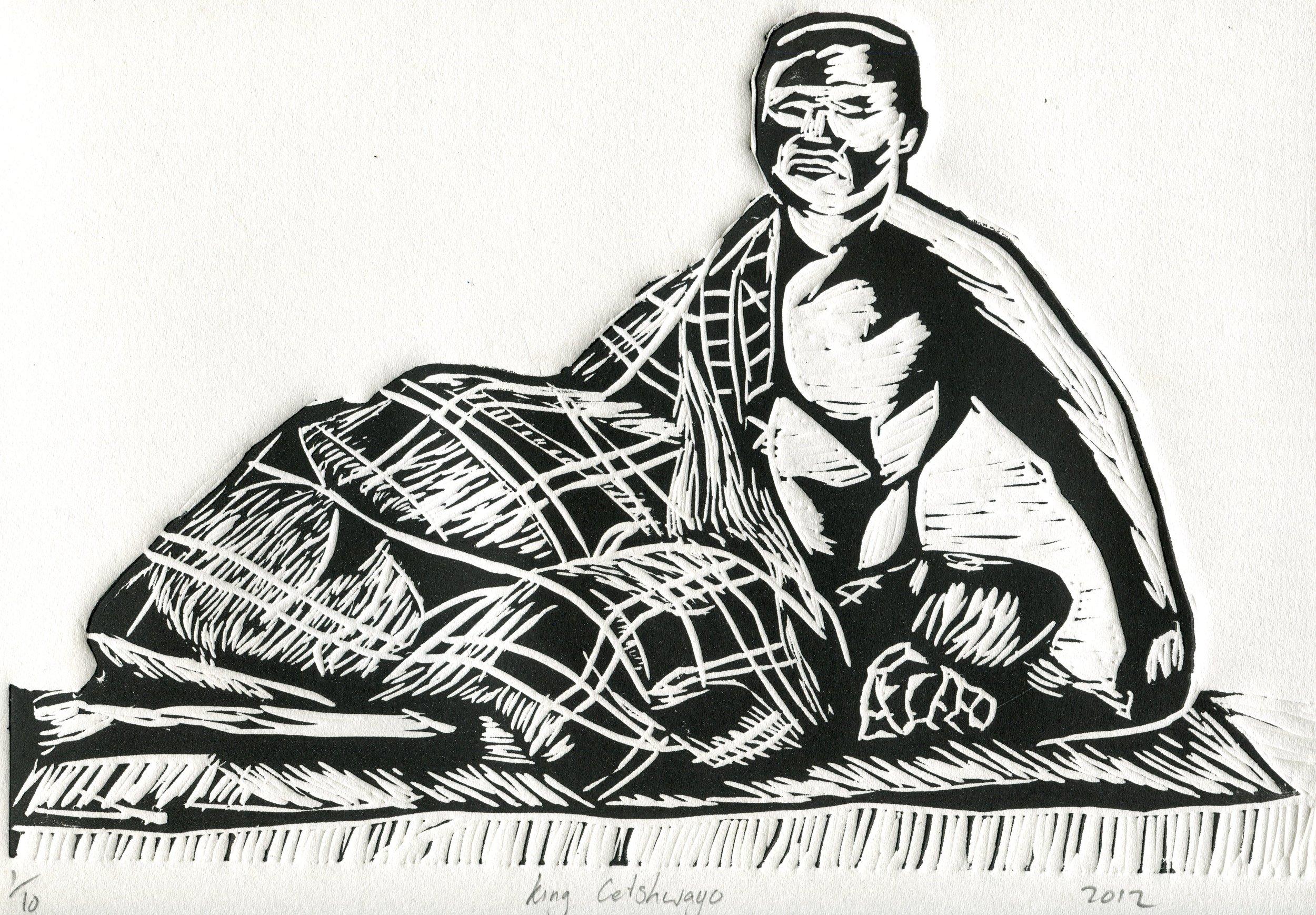 04c  Siyabonga Ngubane  King Cetshwayo  linocut print on paper