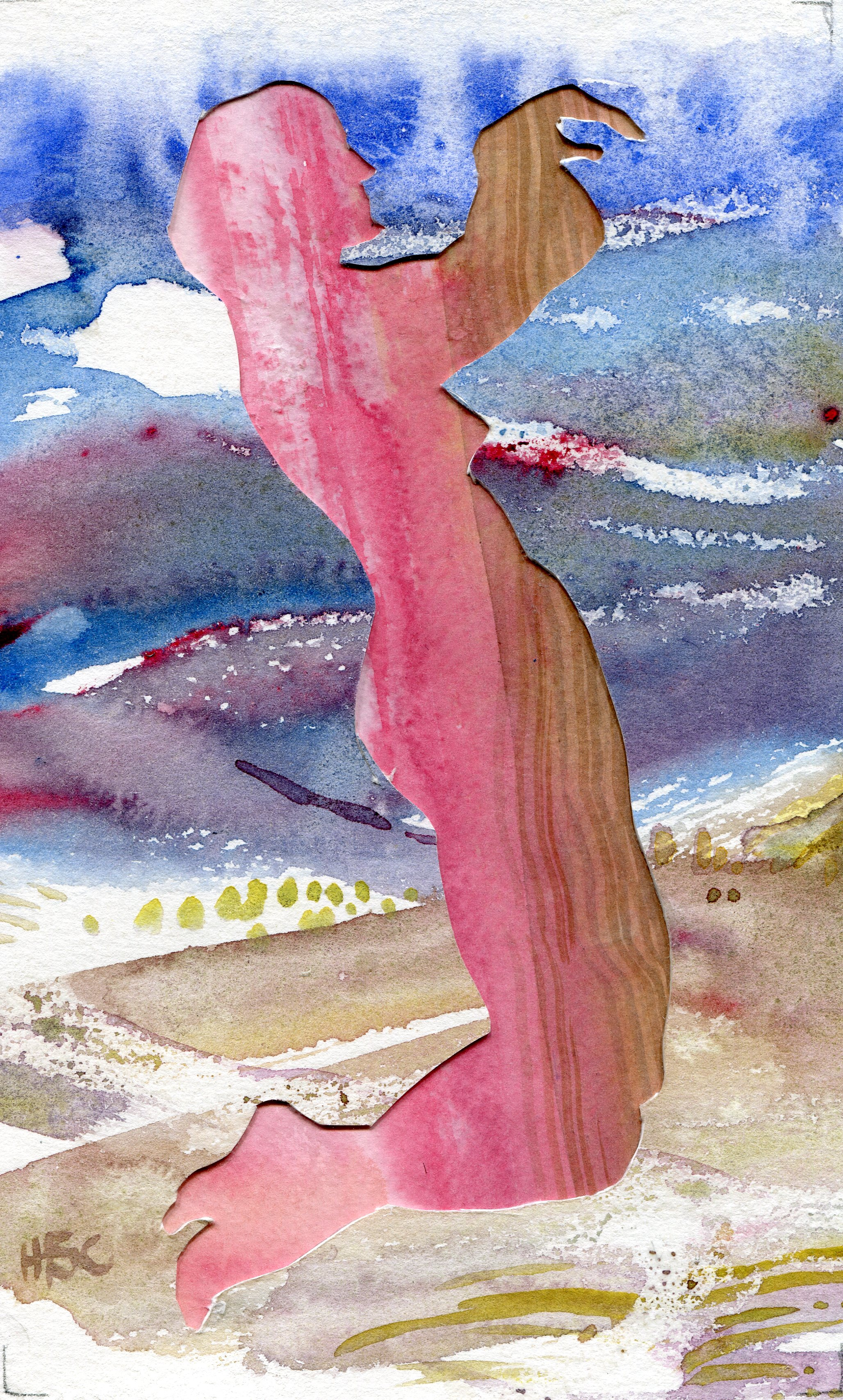 15b  Hermine Coleman  Draining  watercolour collage on paper