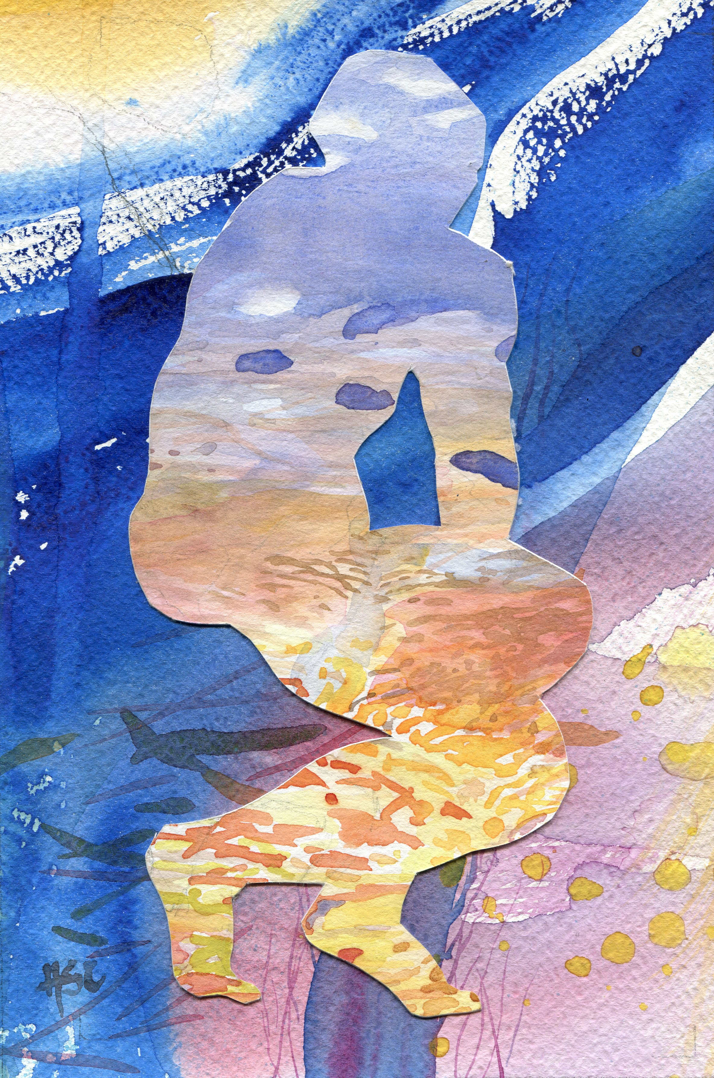 15c  Hermine Coleman  Contemplating  watercolour collage on paper