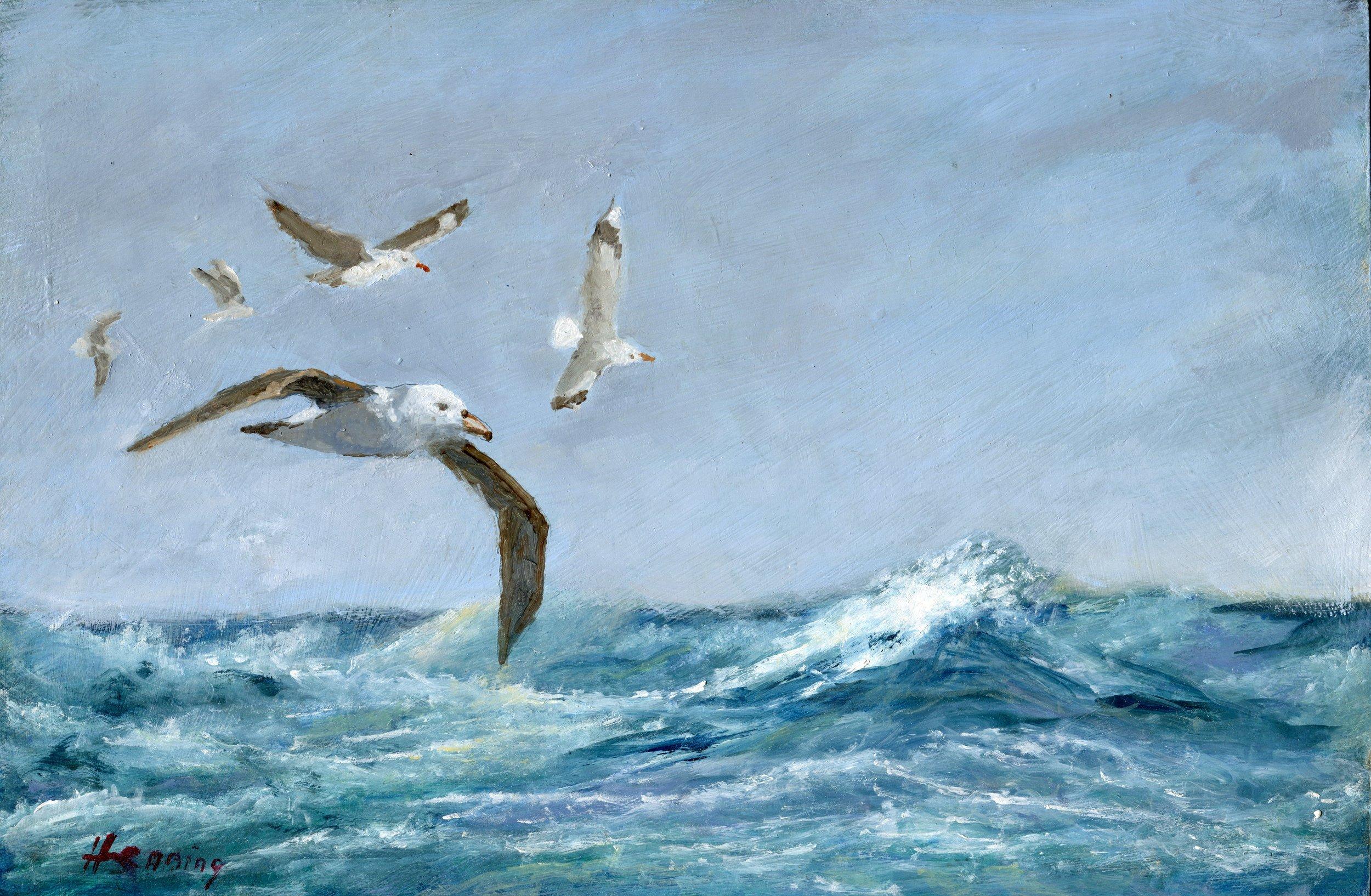 16a  Dennis Henning  Seascape with albatross  oil on board