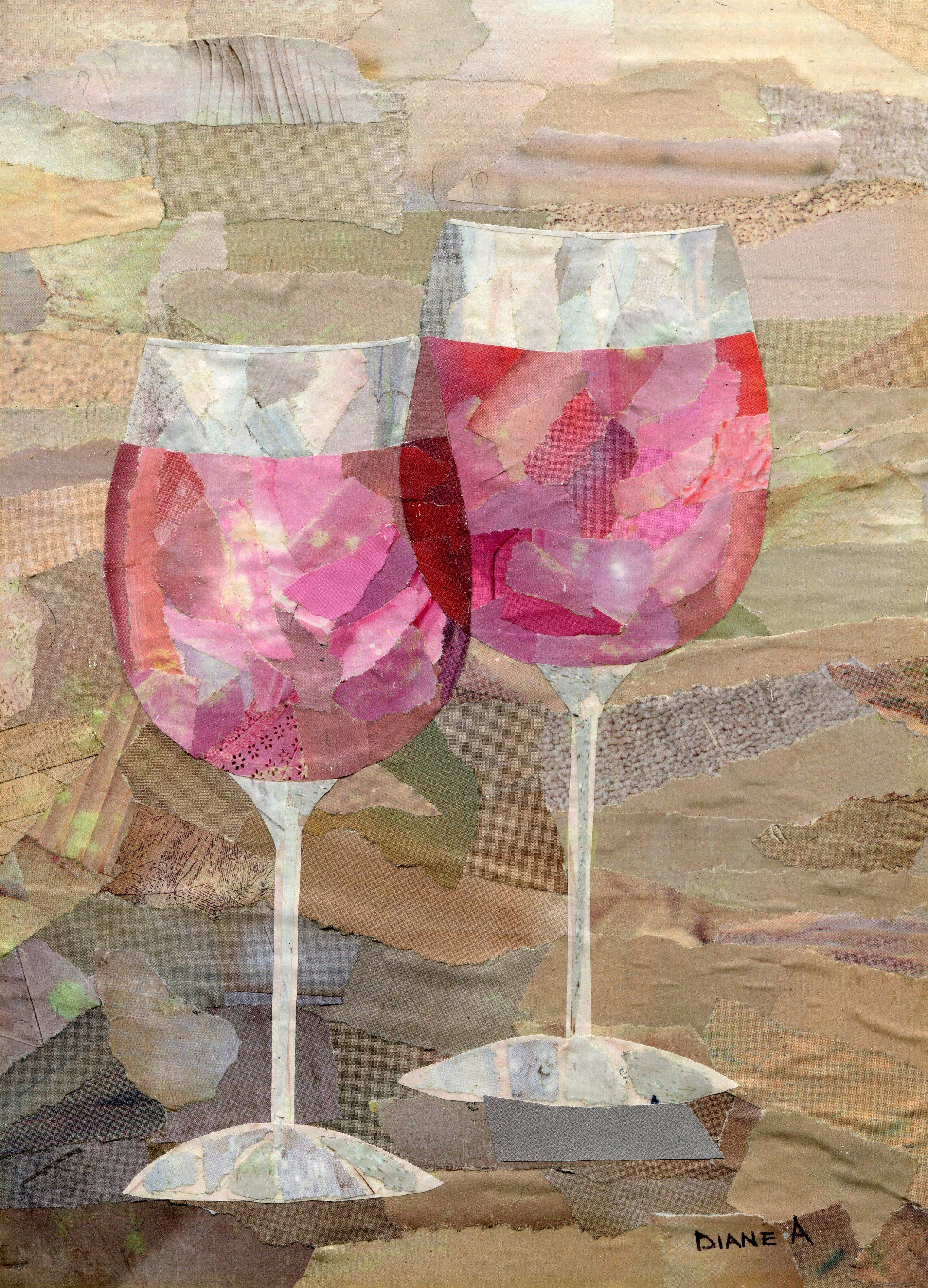 23b  Diane Aldworth  Glasses  paper collage on board