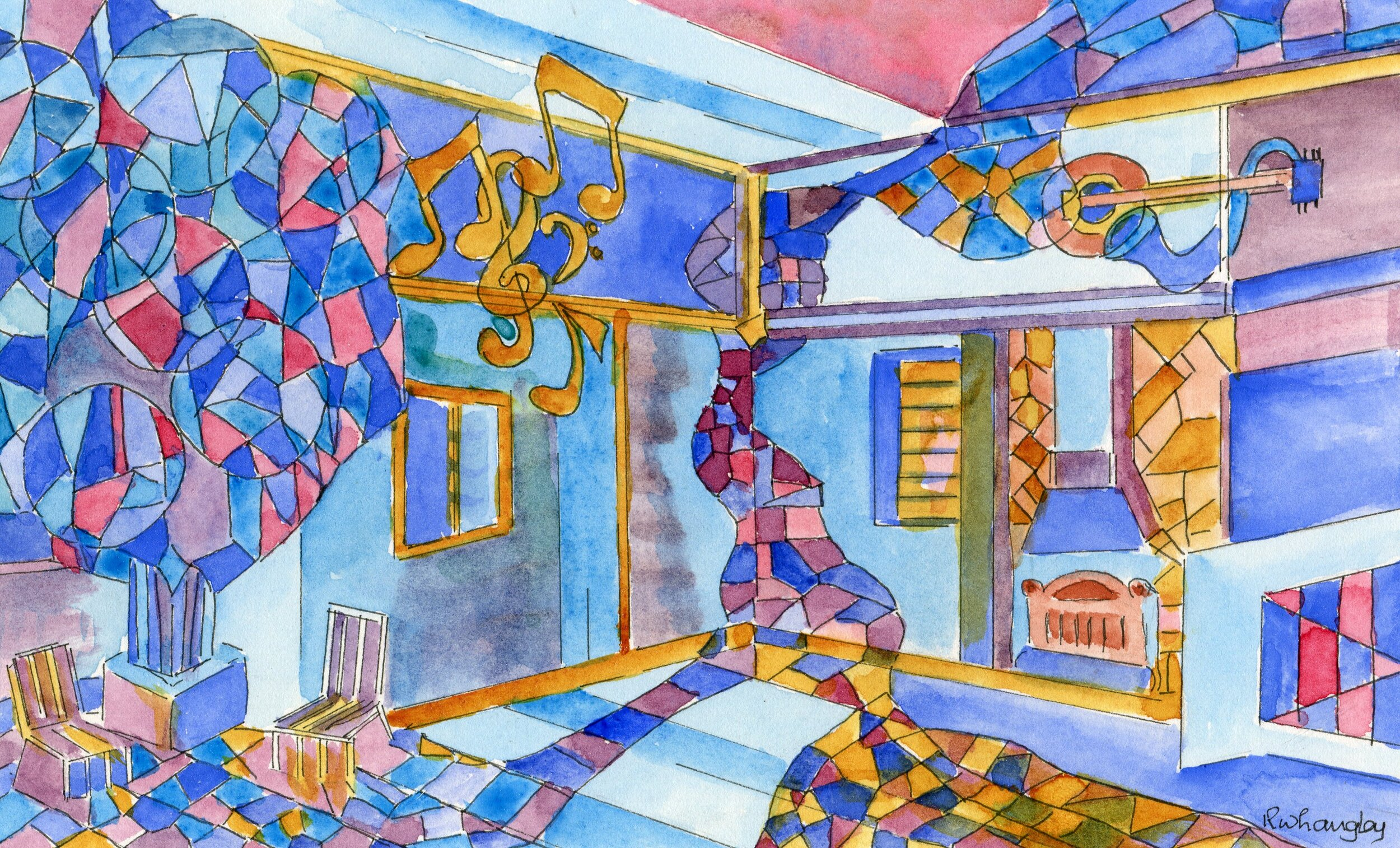 25a  Robert Langley  The colour of jazz  watercolour and ink on paper