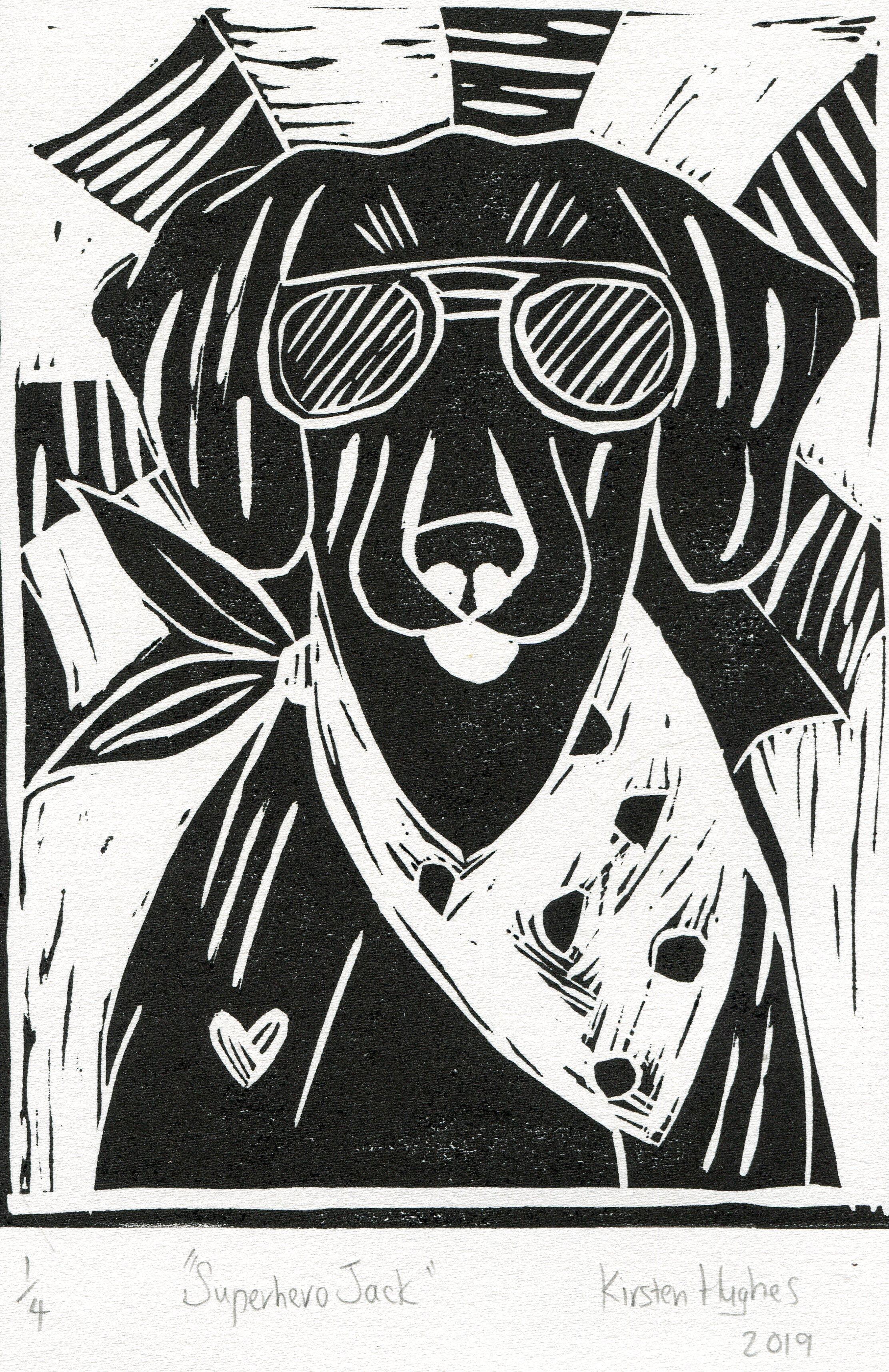 30a  Kirsten Rae Hughes  Superhero Jack  linocut print on paper