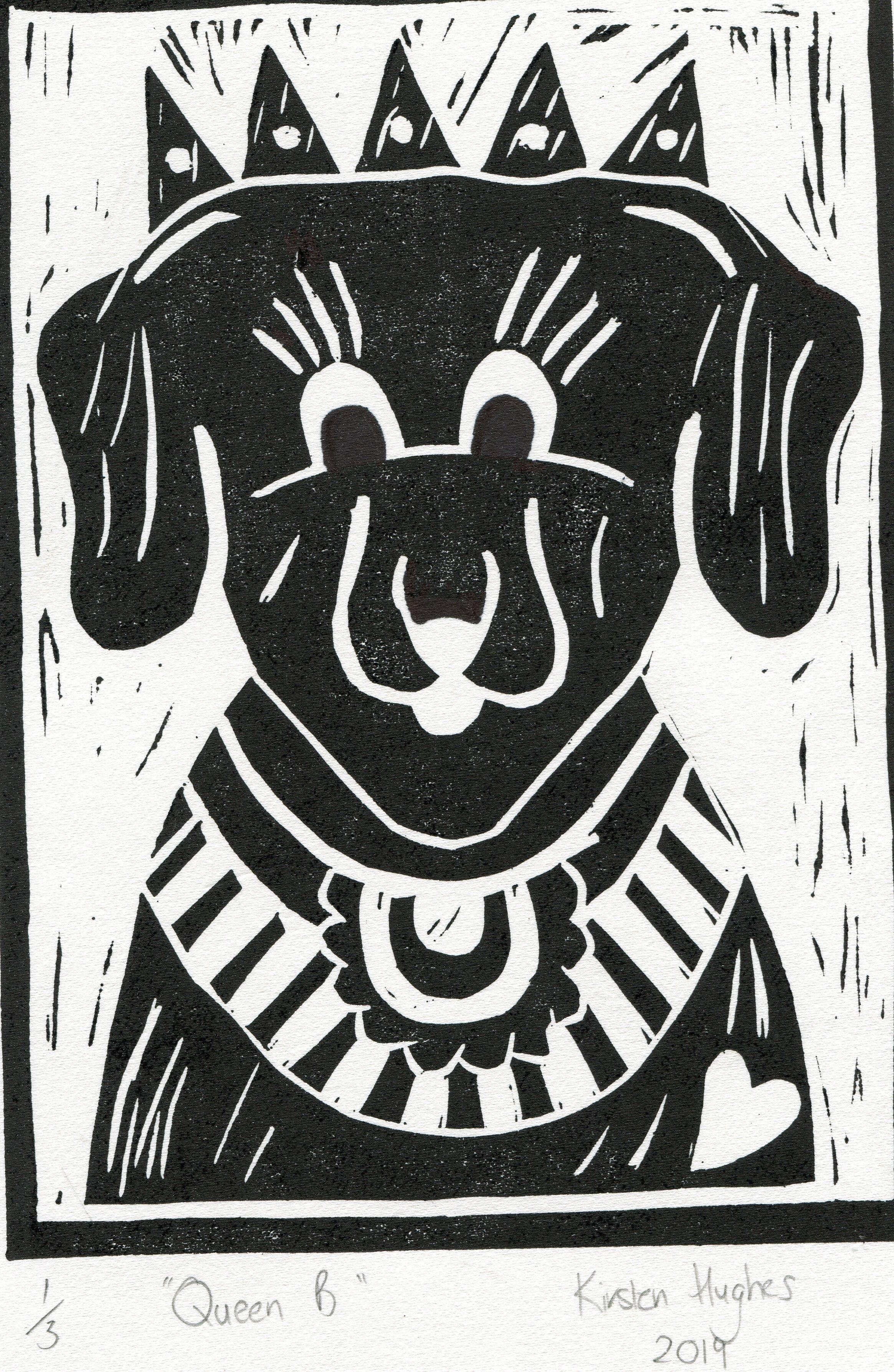 30b  Kirsten Rae Hughes  Queen B  linocut print on paper