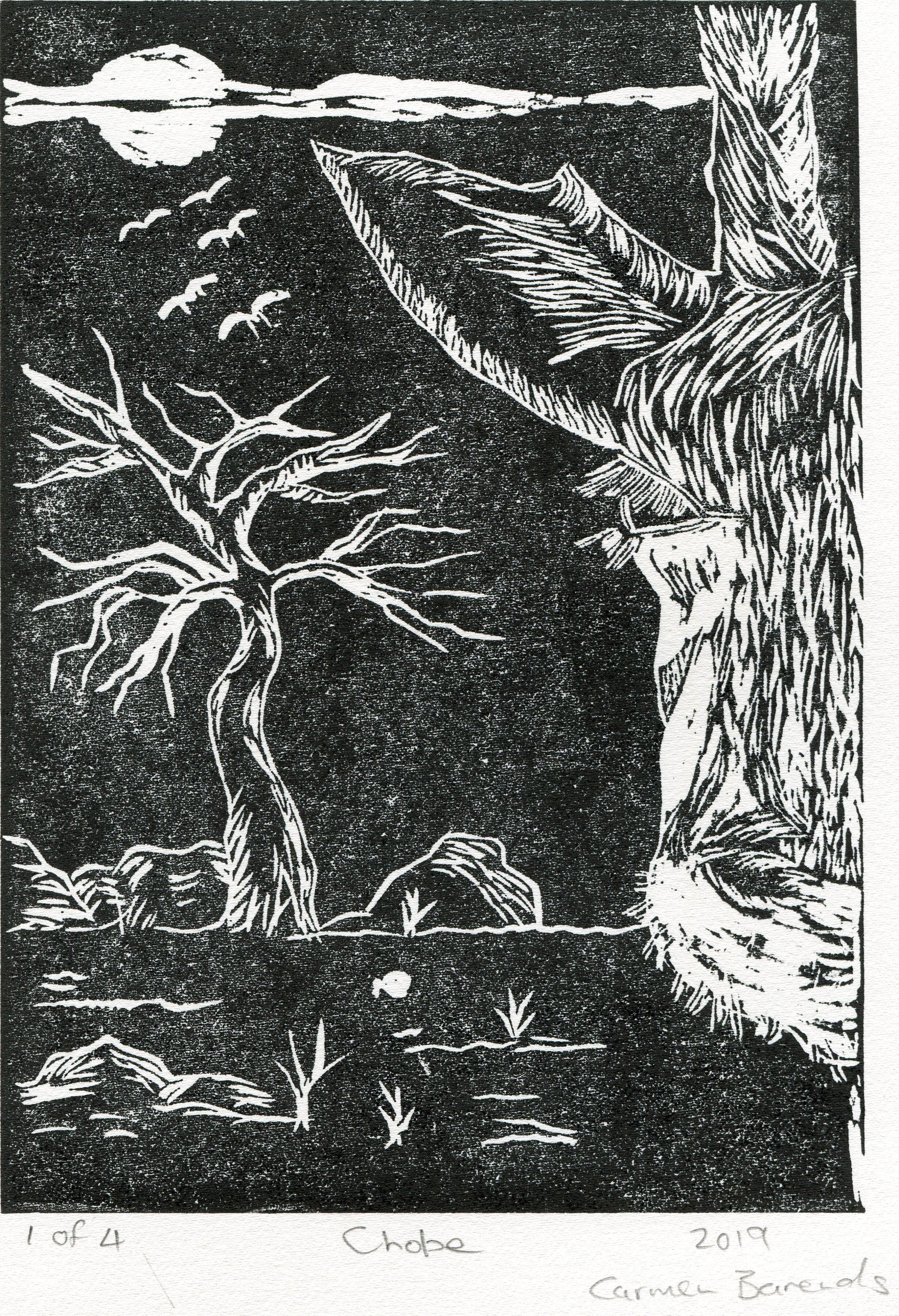 31a  Carmen Barends  Chobe  linocut print on paper