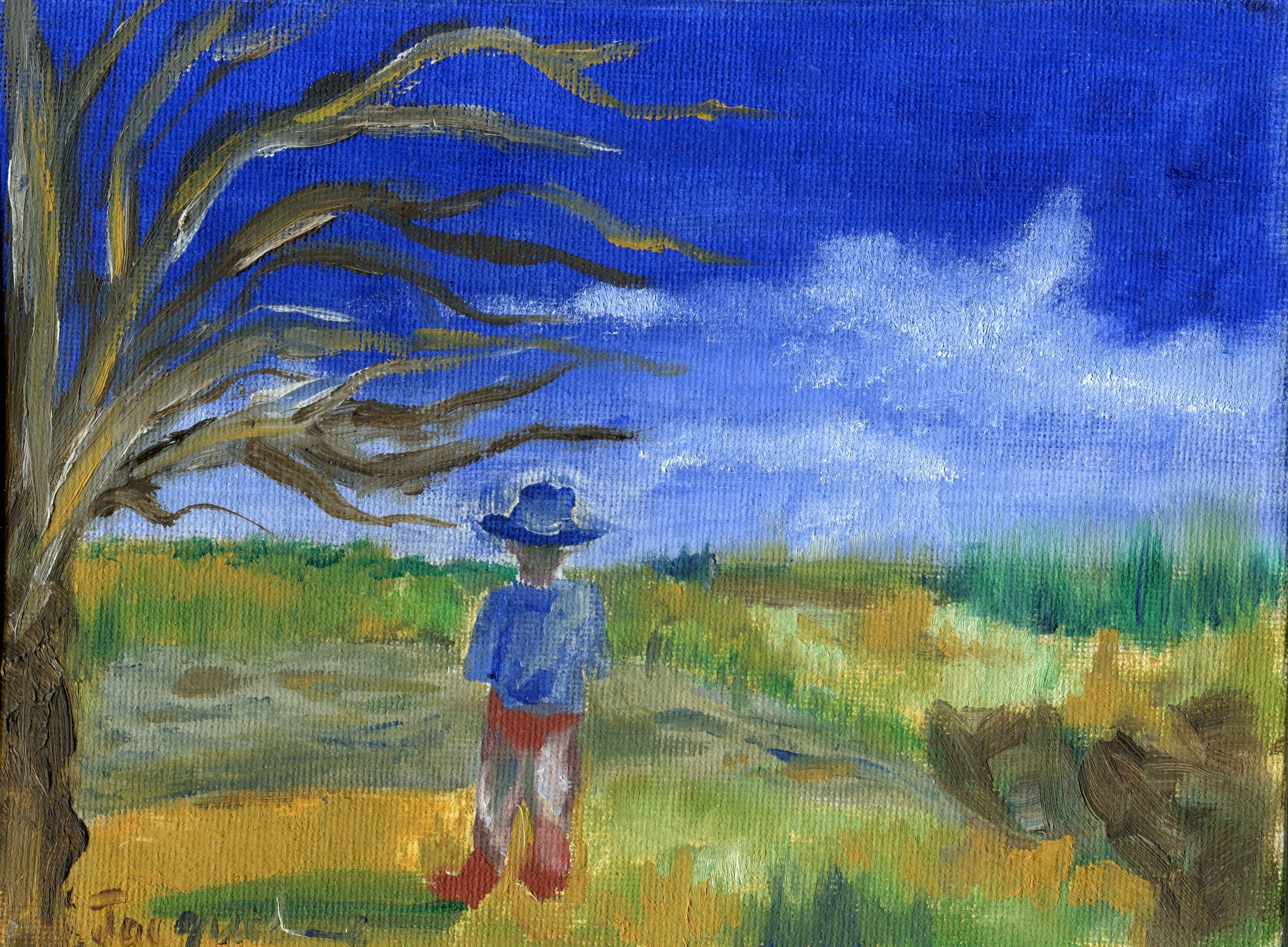 32a  Jacqueline Edwards  Looking out  oil on canvas board