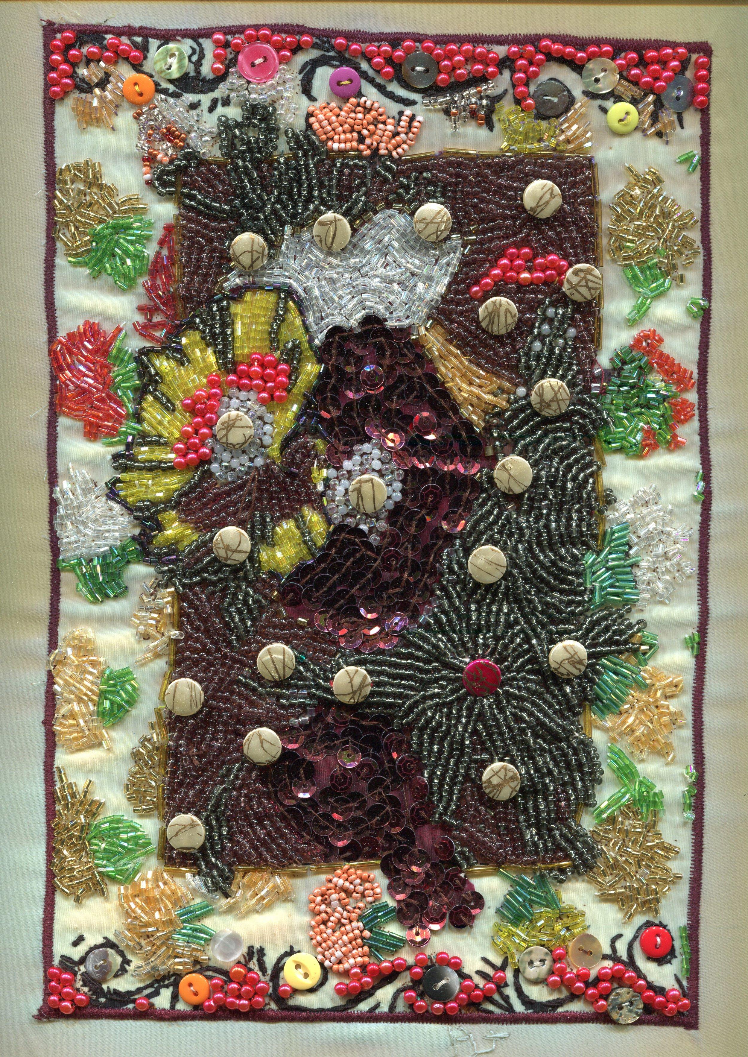 35b  Beauty Sekete  Flower garden  found objects on fabric