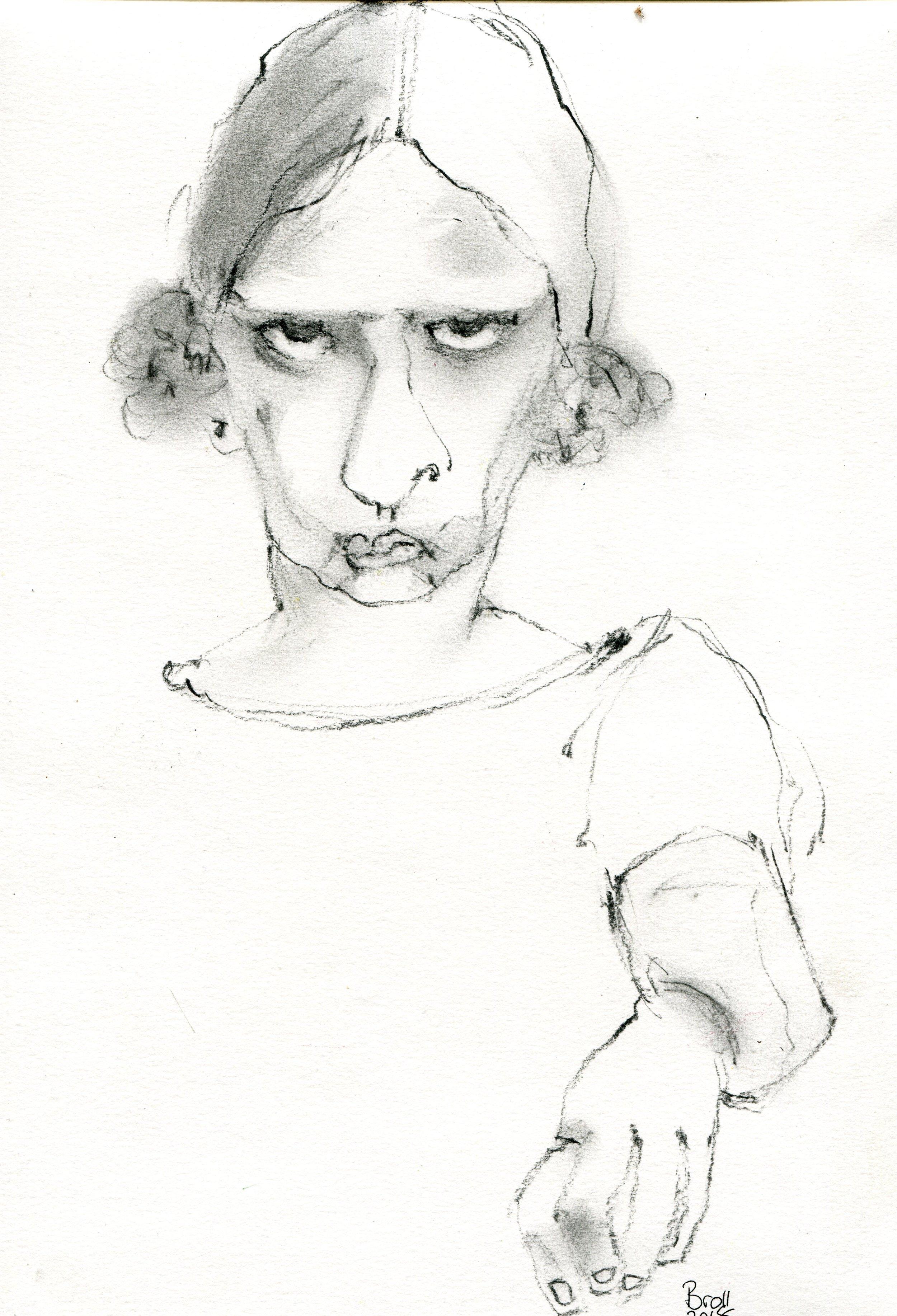 37b  Terri Broll  Girl  charcoal on paper