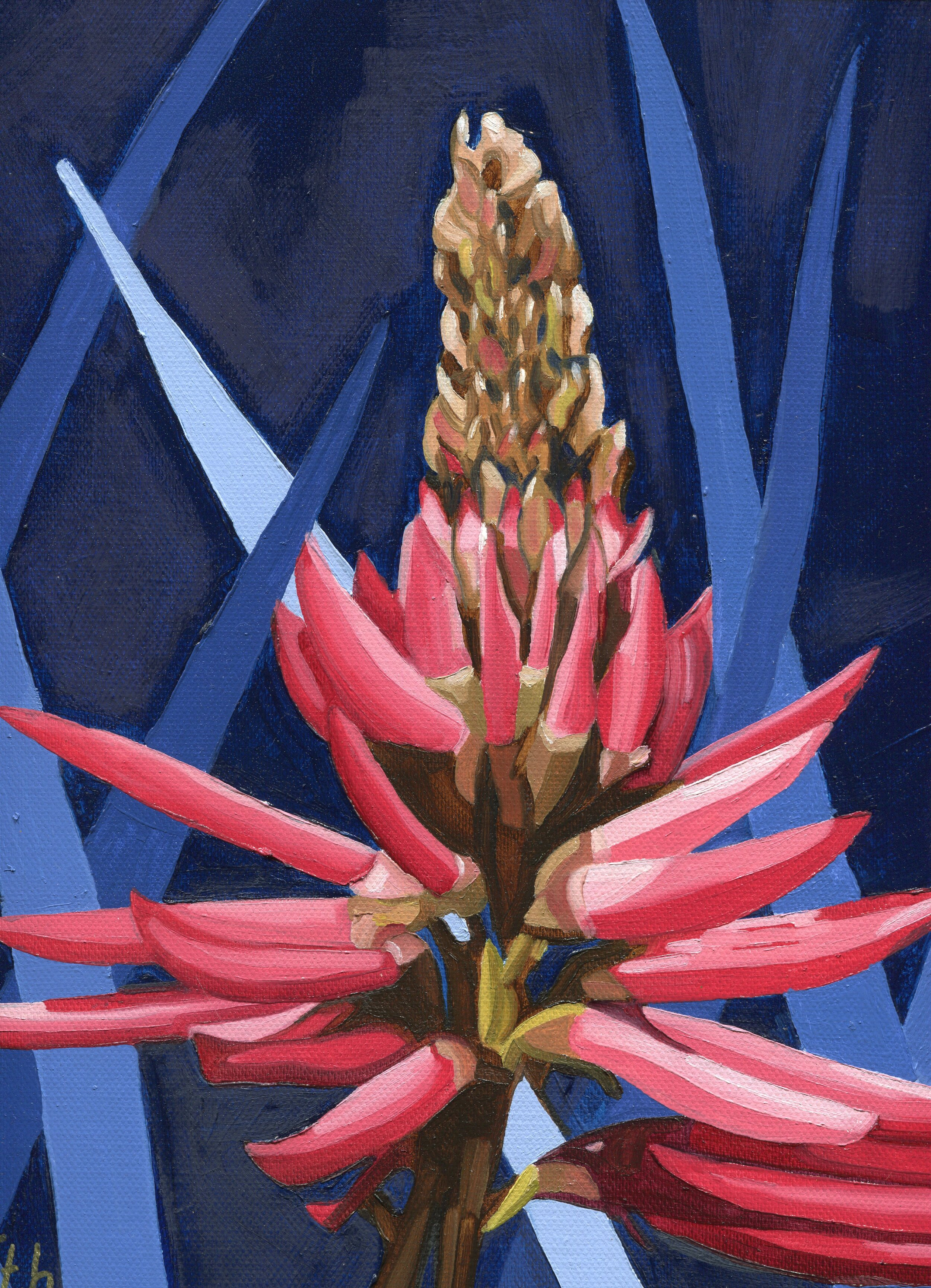 45a  Susan Firth  Red hot poker  oil on canvas