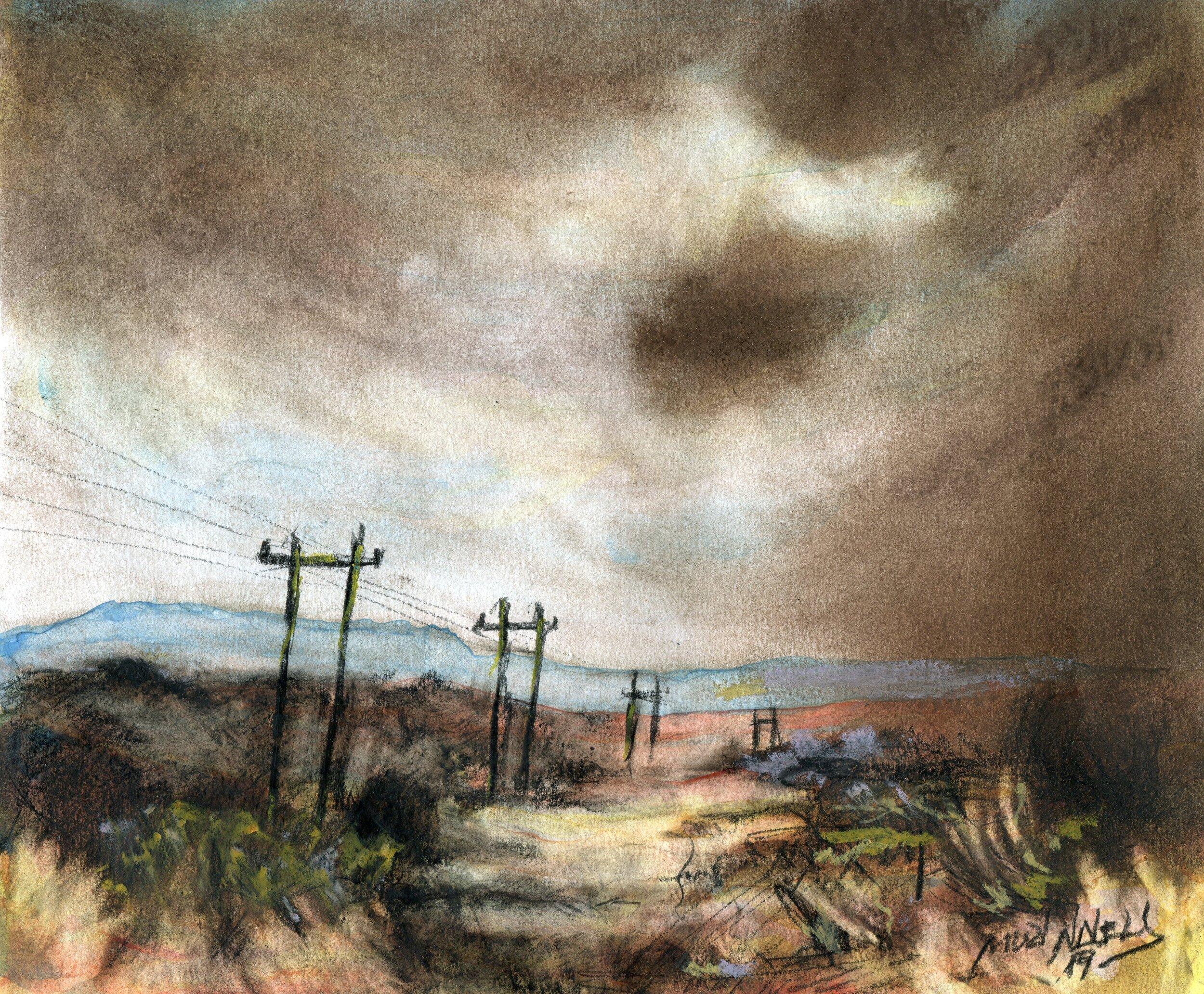 46b  Muzi Ndlela  Vacant land  pastel and charcoal on paper