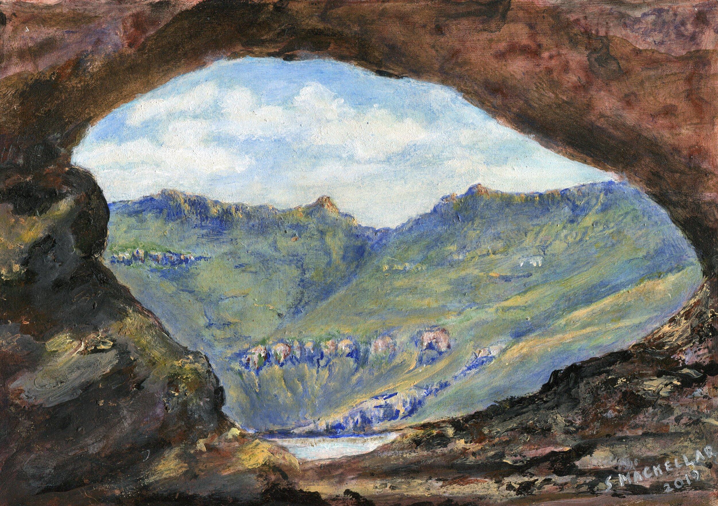48a  Shirley Mackellar  Hodgesons Peak Drakensberg  acrylic on board