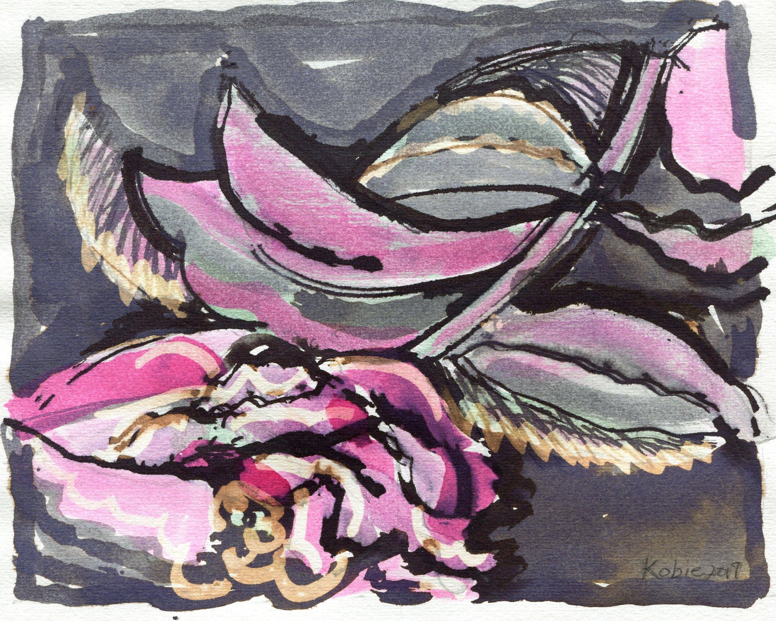 50a  Kobie Venter  Camellia 1  ink drawing on paper