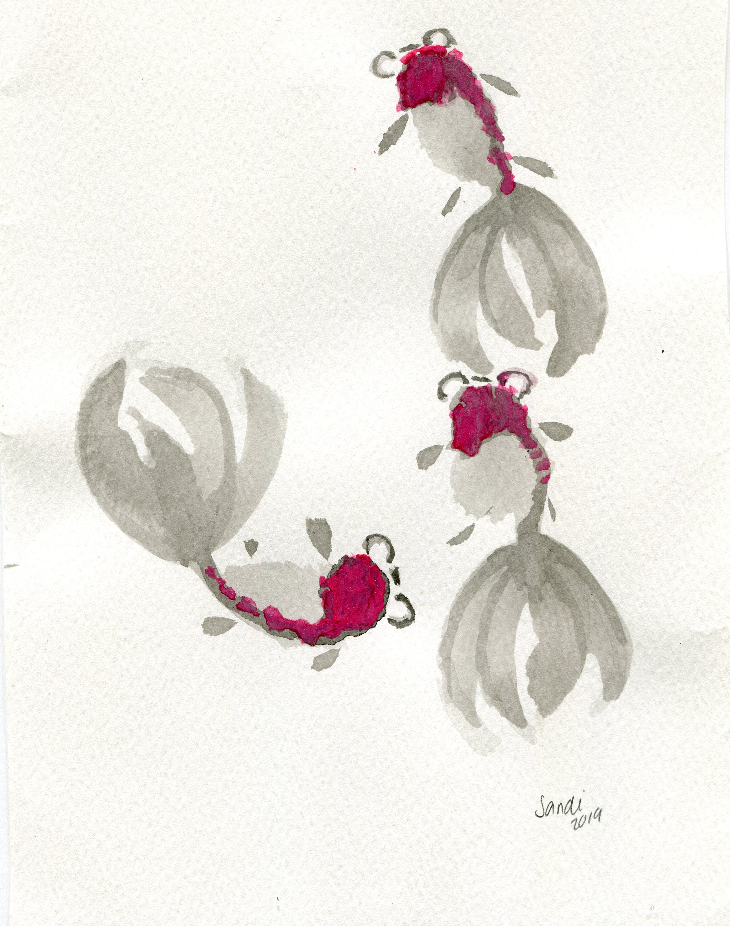 52b  Sandi Willows-Munro  Catch me if you can  ink and watercolour on paper