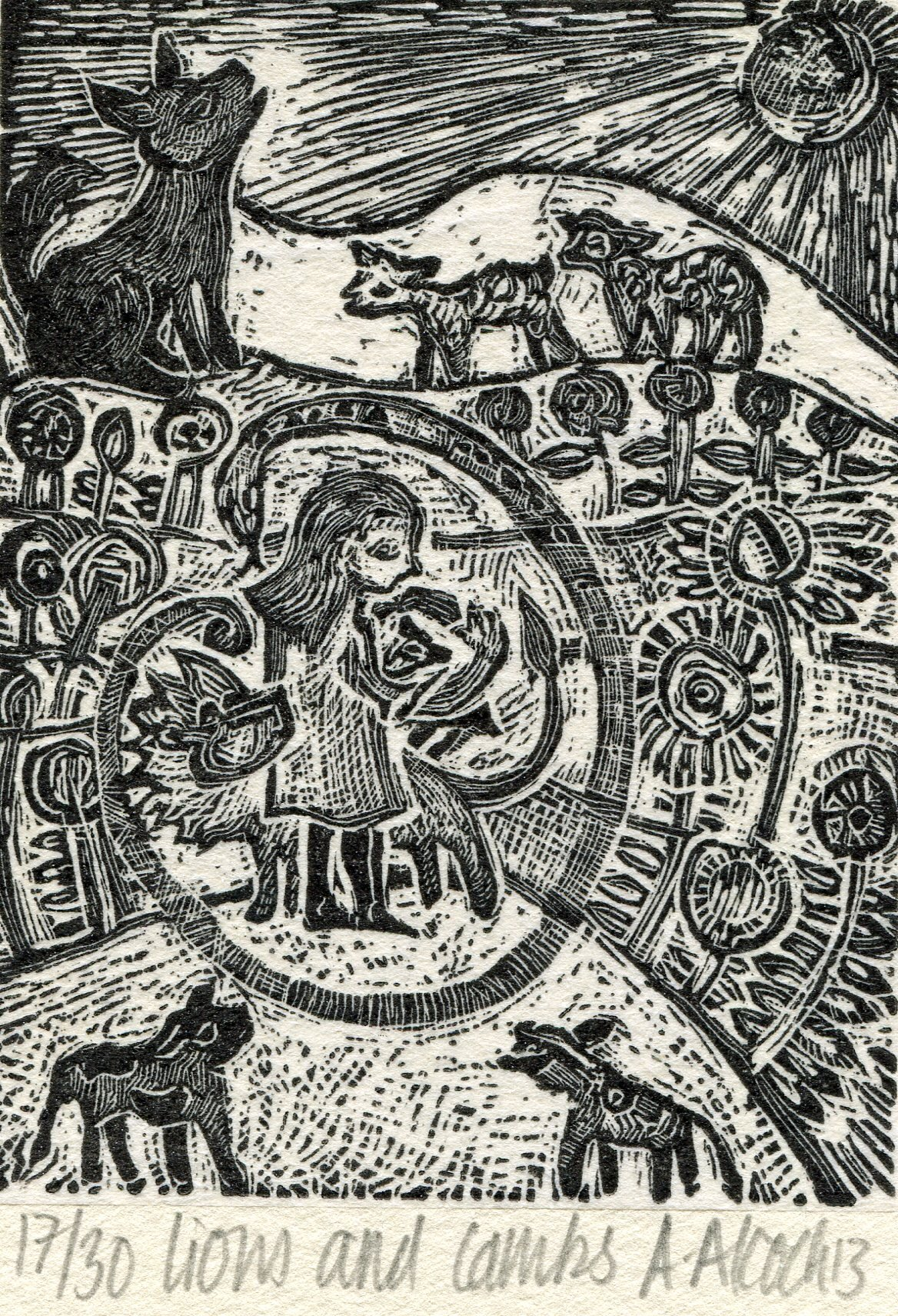 54b  Anna Alcock  Lions and lambs  wood engraving on paper