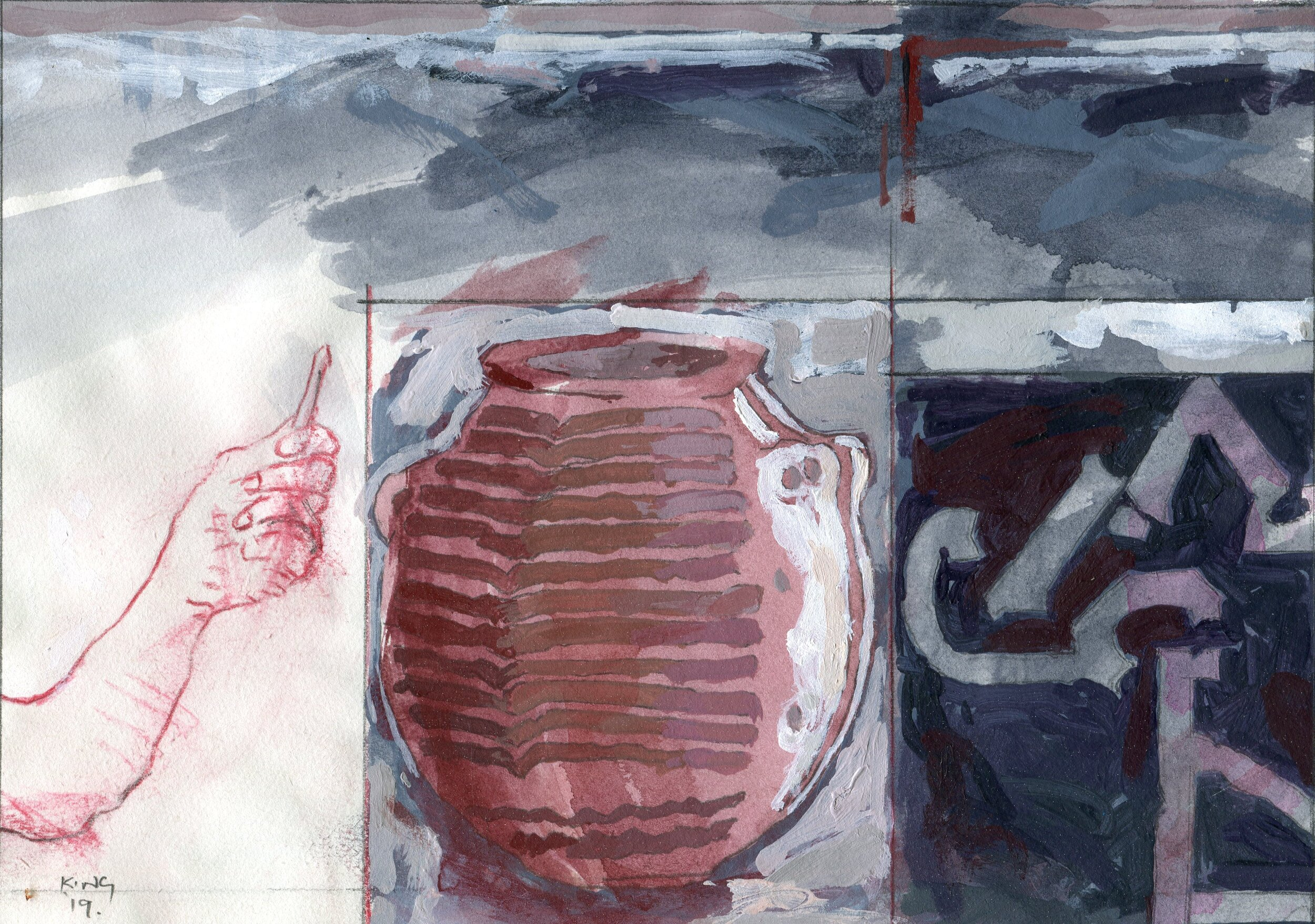 53a  Terrence King  The artist, an Egyptian vessel and Michelangelo's fortifications for Florence  mixed media on paper