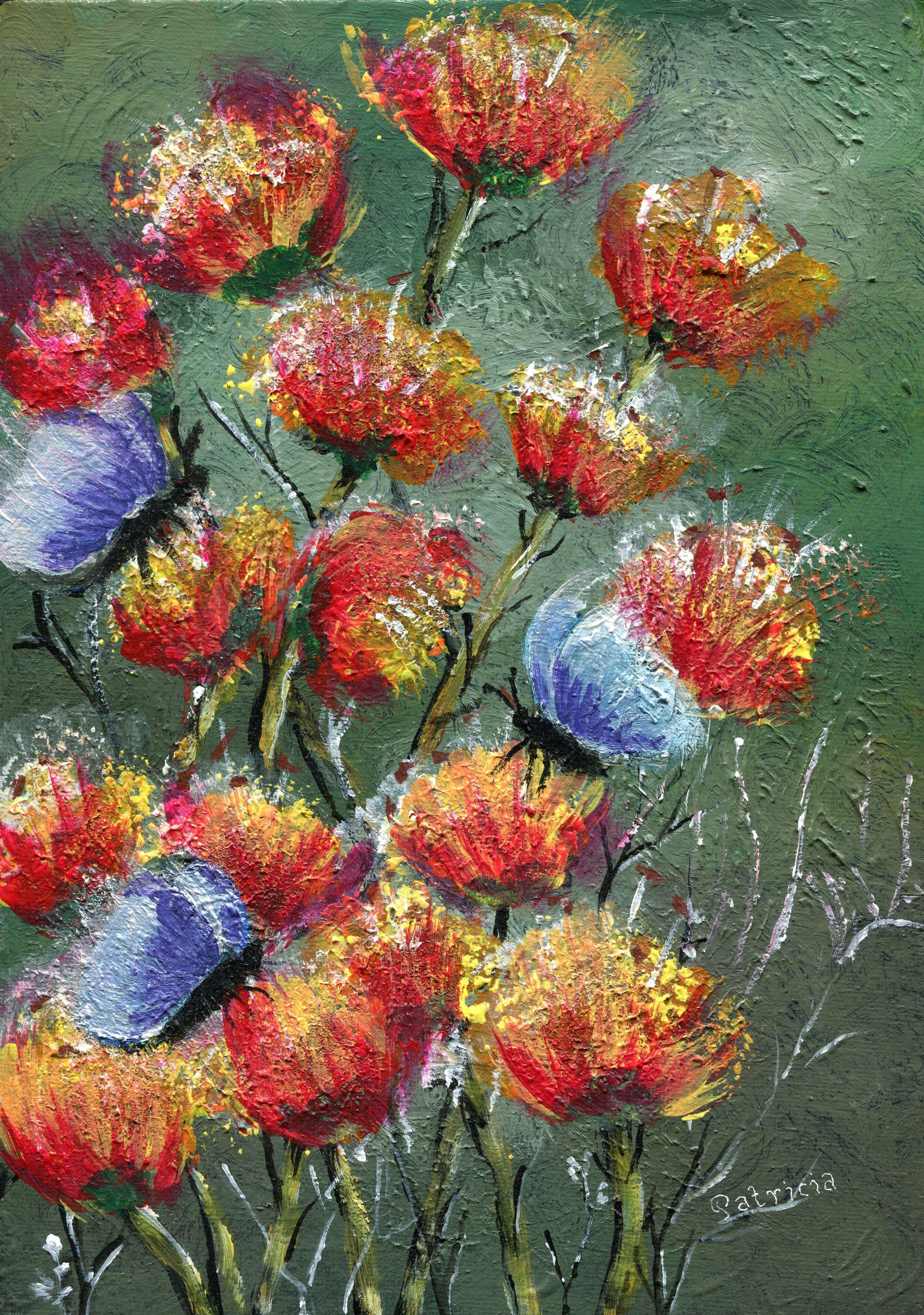 61b  Patricia McCann  Butterfly field  acrylic on canvas board
