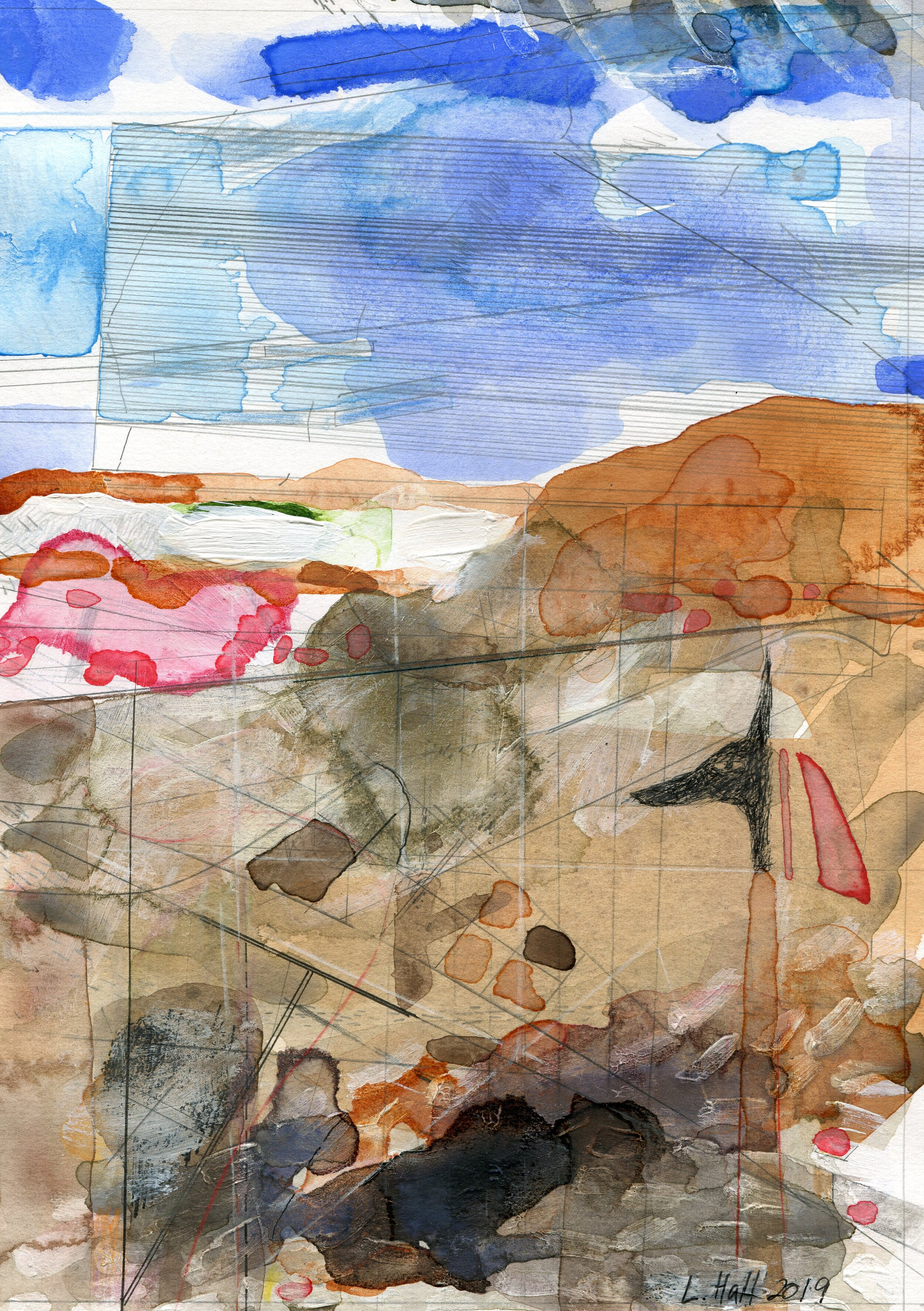 66a  Louise Hall  Transverse section of a landscape with anubis  mixed media on paper