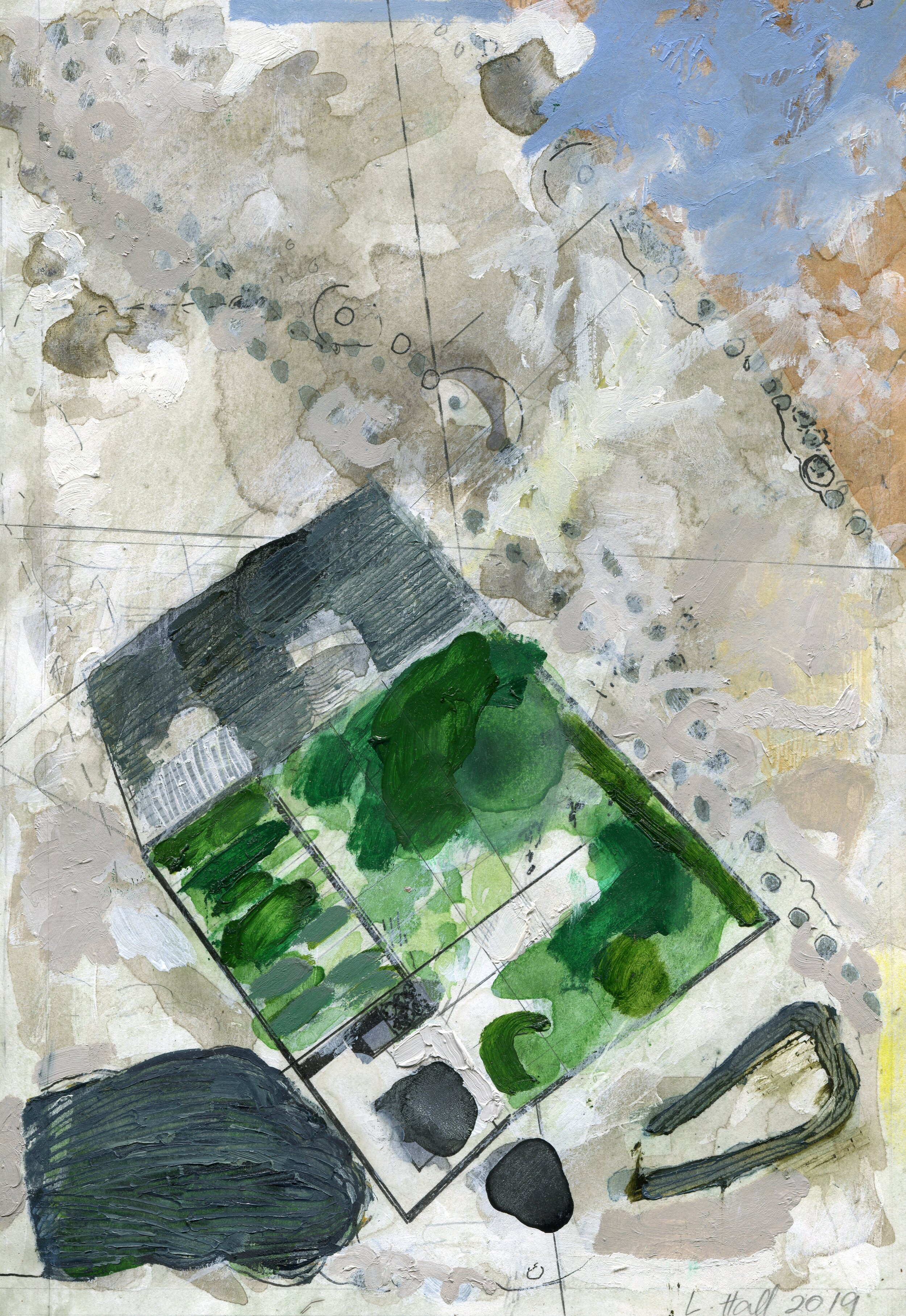 66b  Louise Hall  Landscape aerial perspective  mixed media on paper