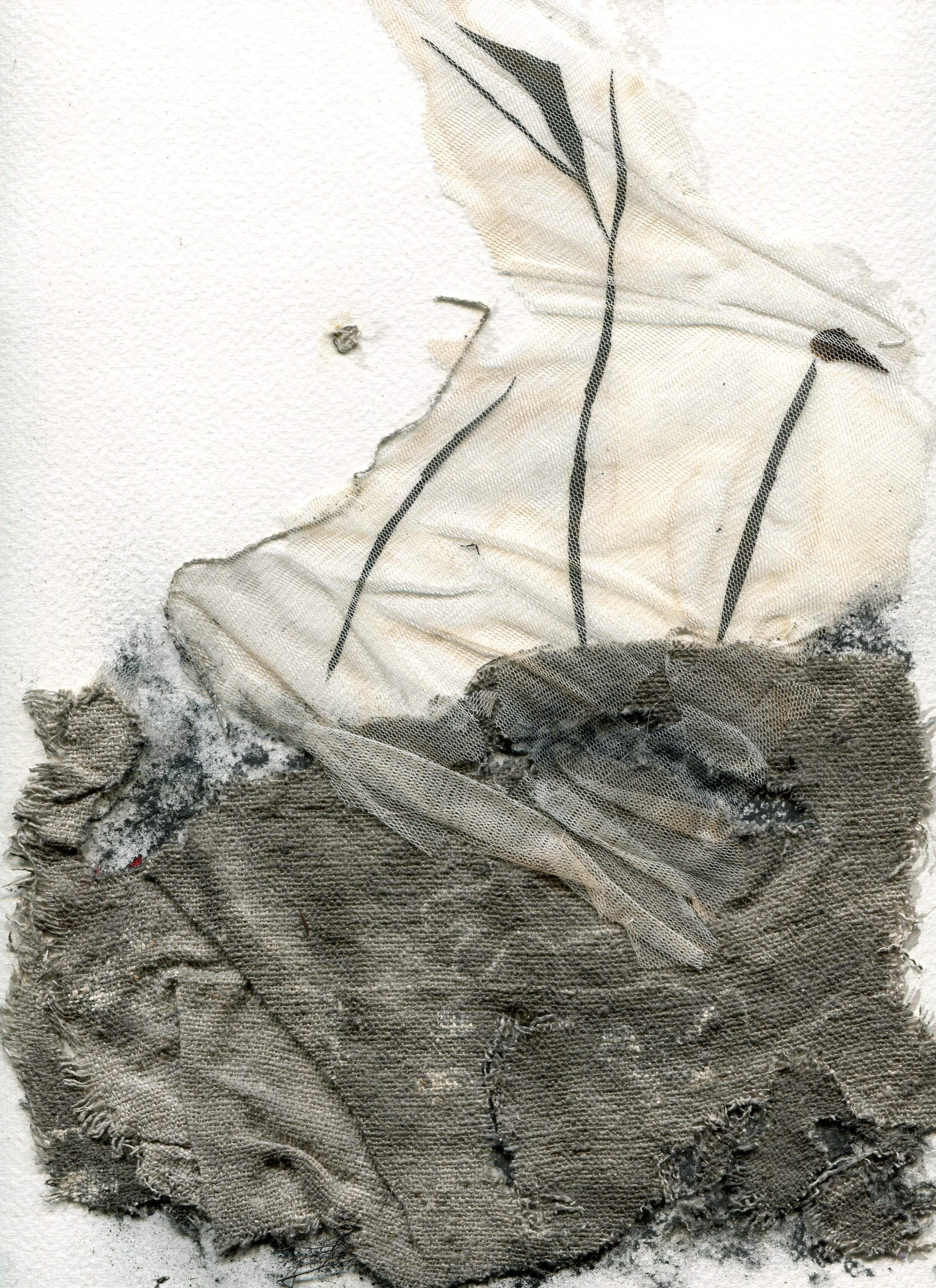 69a  Ingrid Adams  Capture 1, Sumi-e  net and fabric on paper