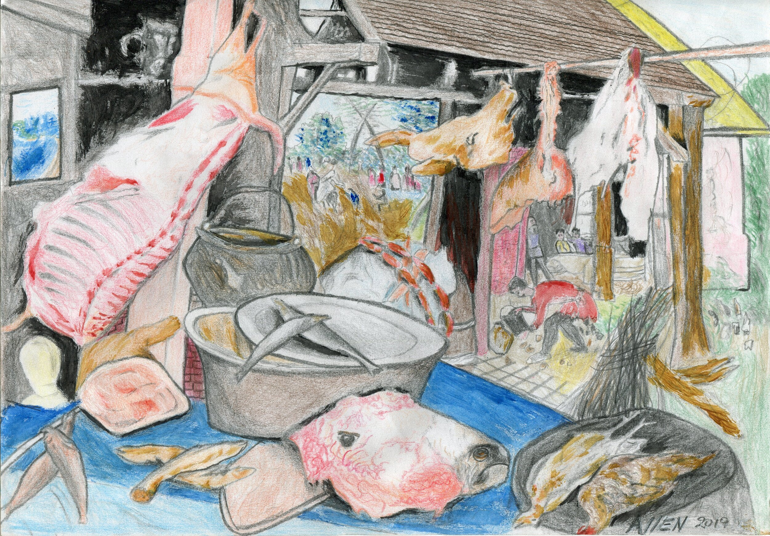 70a  Allen Hlela  Meat market  pencil and crayon on paper