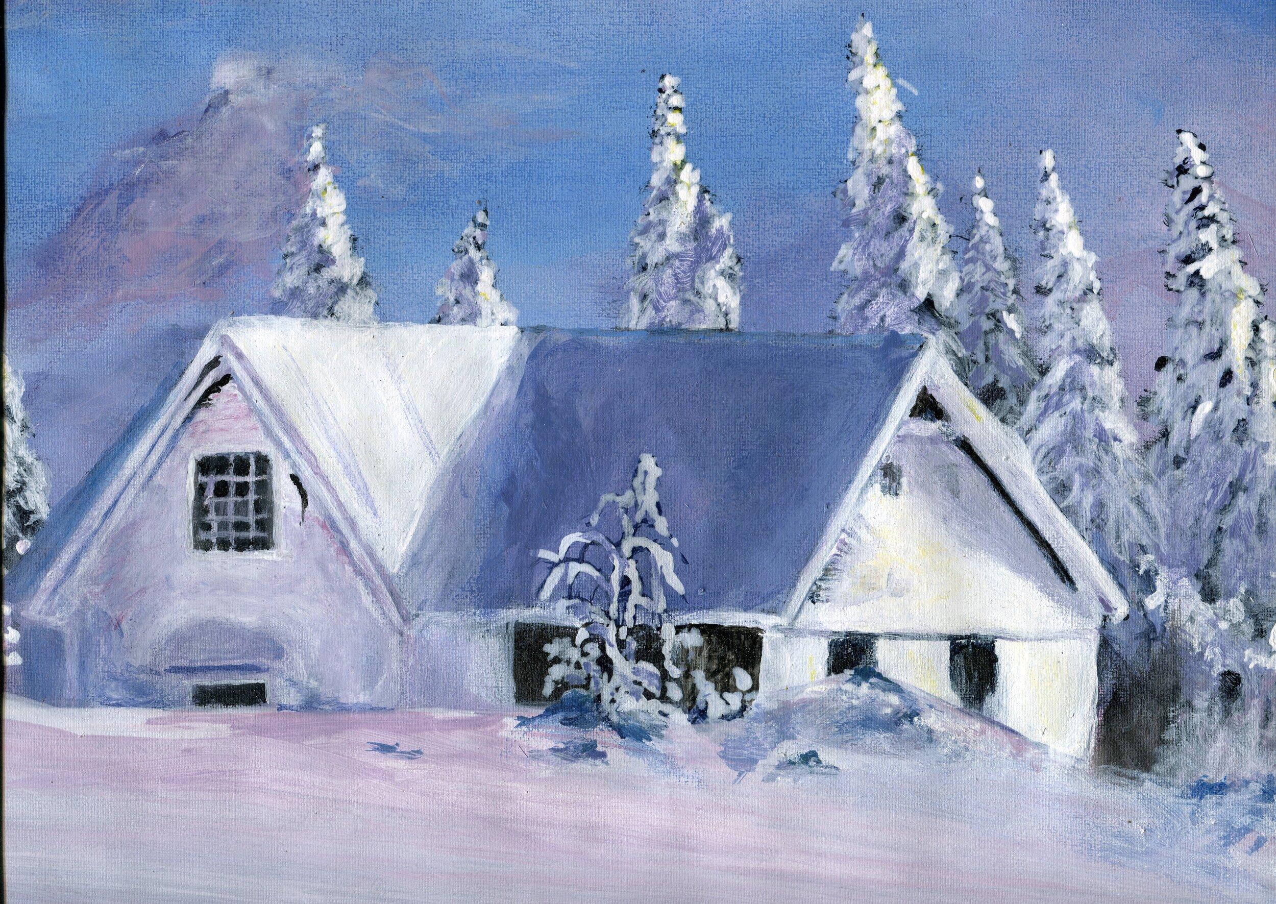70b  Allen Hlela  Snow mountain house  fabric paint on paper