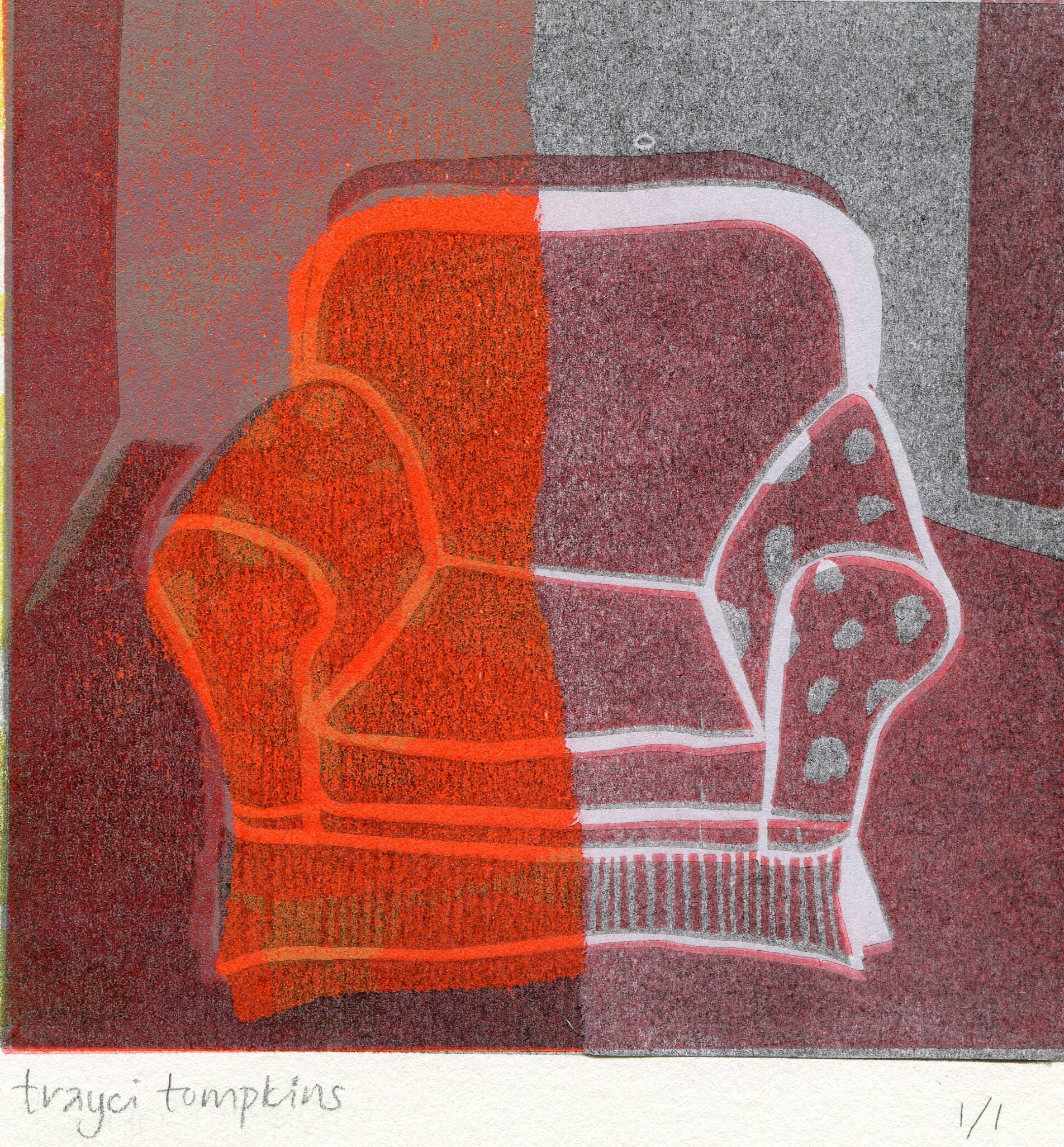 71a   Trayci Tompkins  Surrey chair 1  Lino cut relief print on paper