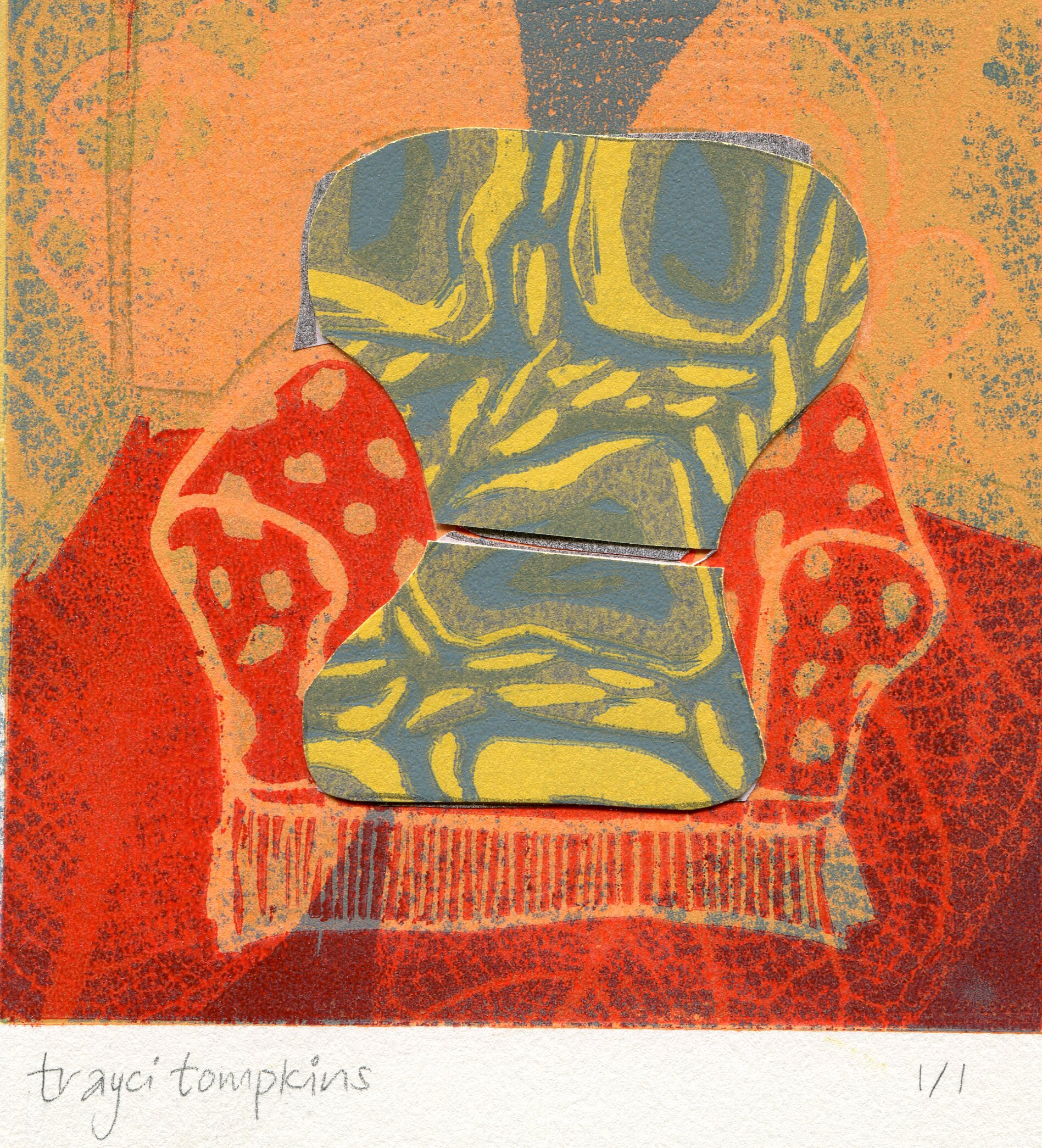 71b  Trayci Tompkins  Surrey chair 2  lino cut relief print and chine colle` on paper