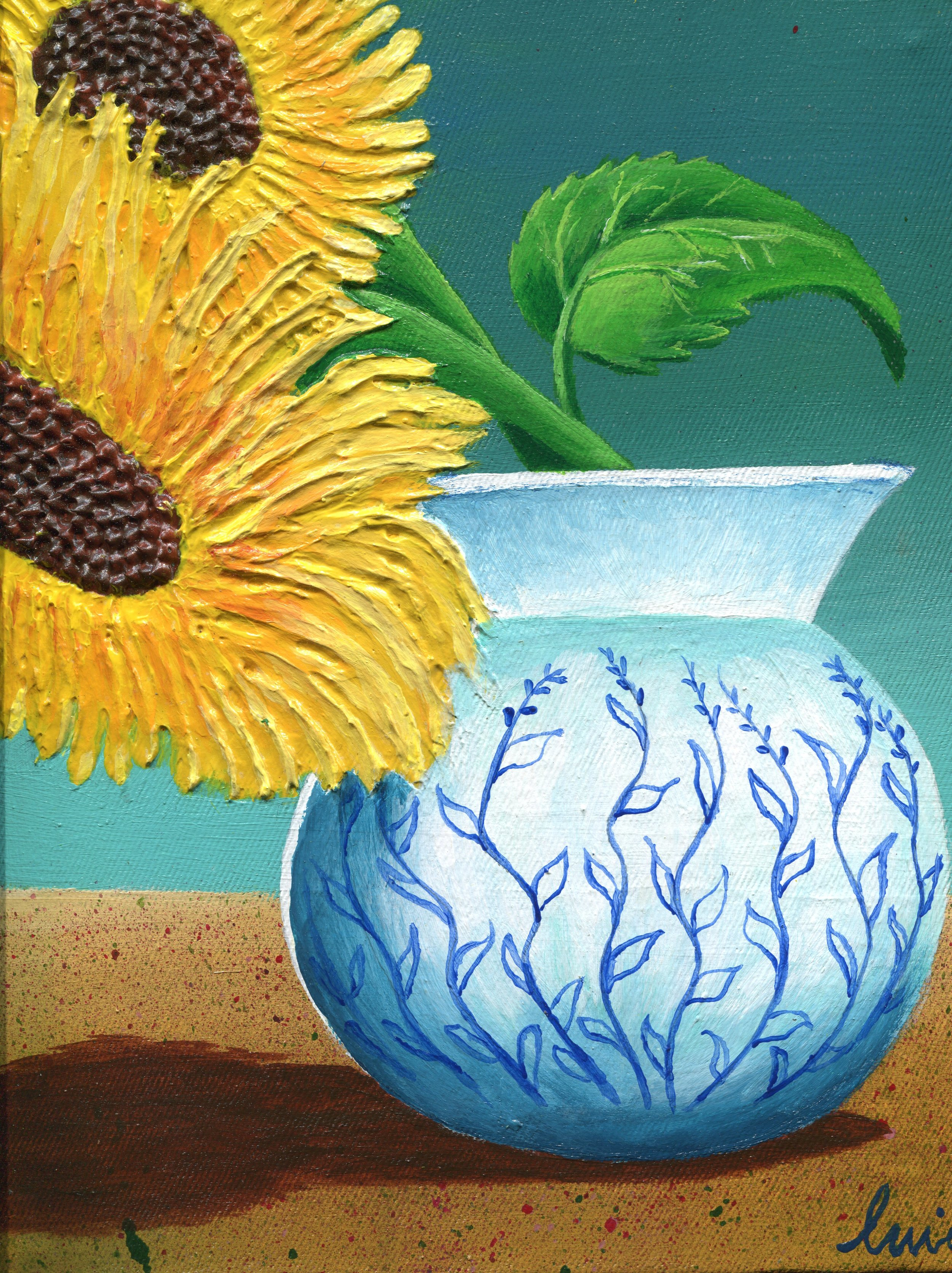 73b  Ntando Lincoln Mngwengwe  Floral Vase  mixed media on canvas