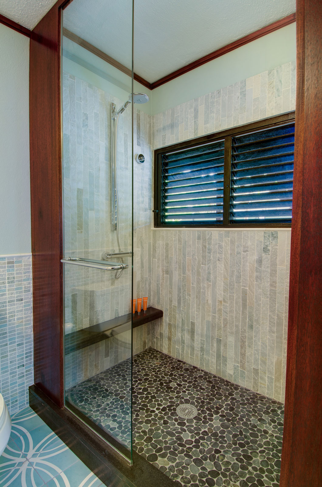 walk-in shower in the renovated Oceanview bathrooms photography: Jim Scheiner -  Rainbow Visions