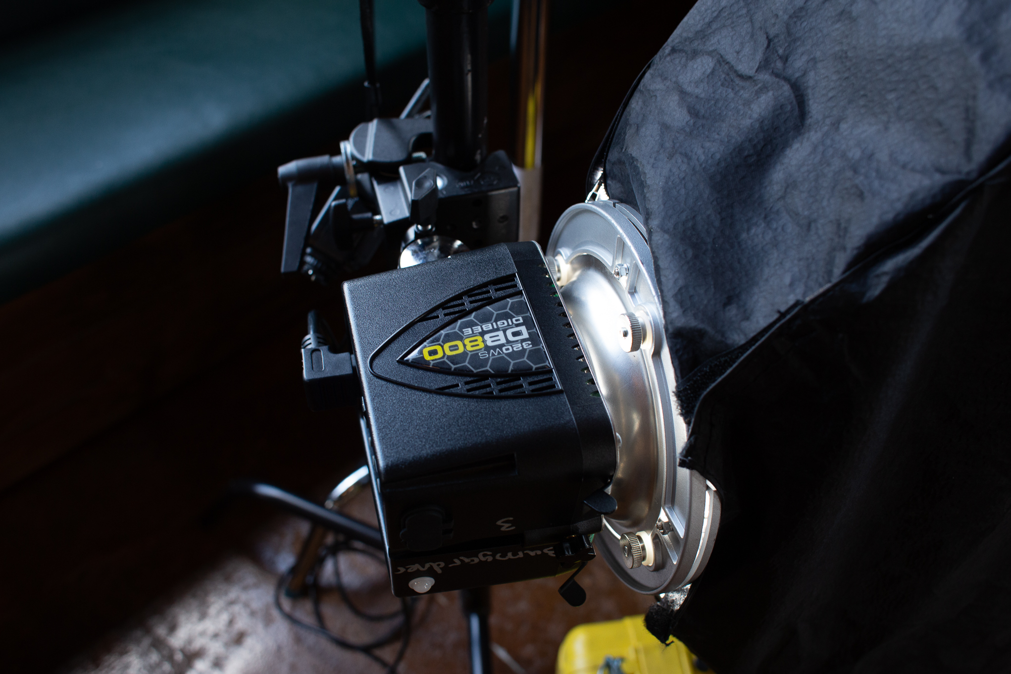 The DigiBee 800 in action. The light was mounted with a super clamp because my 20in c stand was a bit to tall to get the light where I wanted it. The yellow case is actually propping the strip box up to get it angled just right. Even when you have all of the gear you have to come up with solutions to problems on the fly.