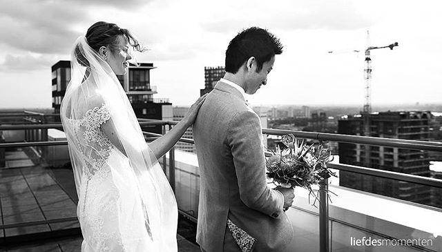 A wedding's first look. Always a memorable moment. Especially when it's located on a rooftop overlooking the skyline of #Rotterdam.  #010 #010skyline #rooftop #coopvaert #letsmakeitawonderfulday . . #liefdesmomenten #weddingphotography #weddingphotographer #photo #weddingfilm #wedding #yesido #theperfectwedding #prewedding #trouwen #bruidsfotograaf #trouwfotograaf #bruidsfotografie #destinationwedding #bride #groom #weddingdress #blackandwhite #trouwenin2018 #trouwenin2019