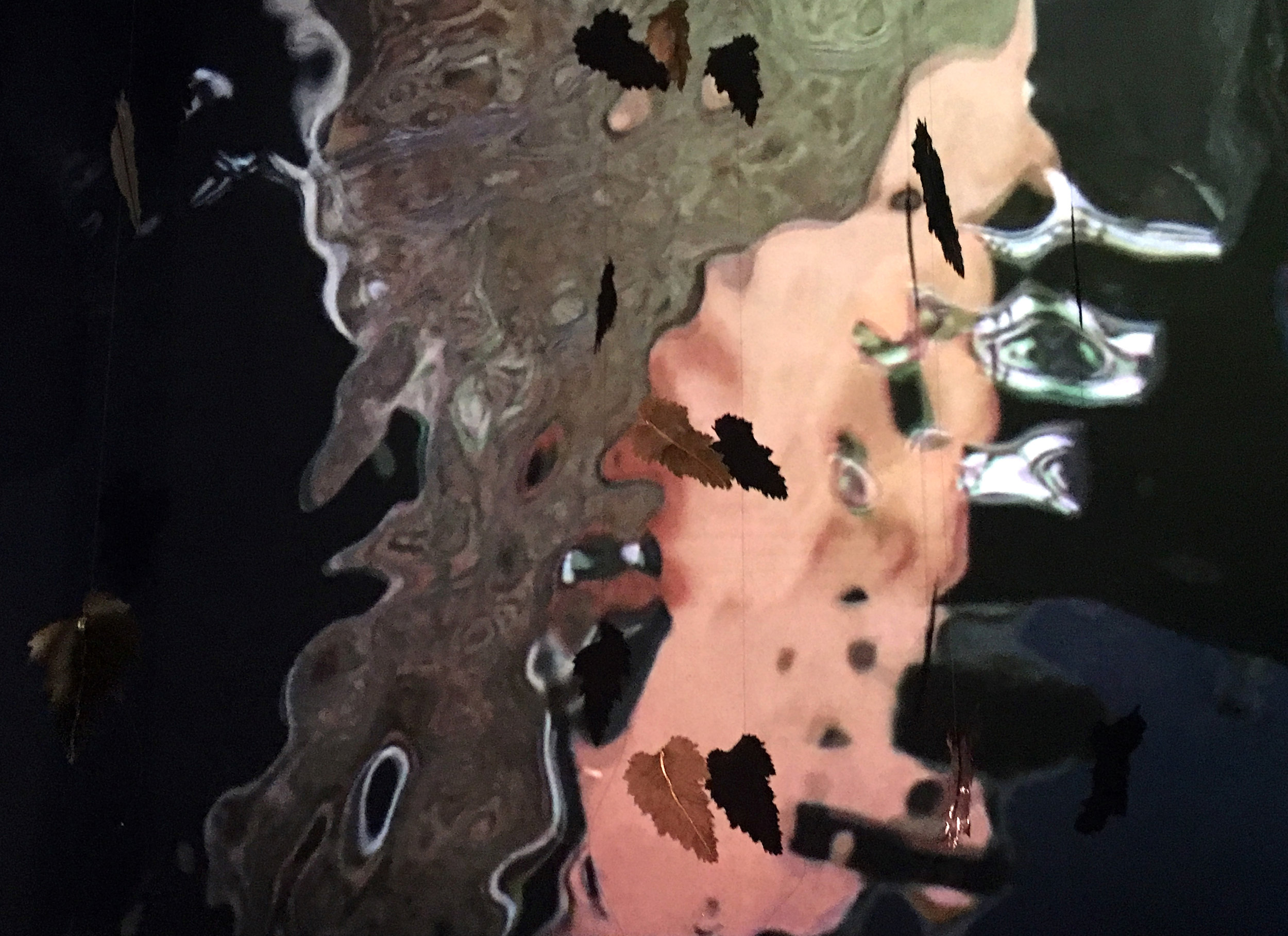 Carlisle & Hamilton (Floating Worlds) 2016. Video projection and suspended leaves.jpg