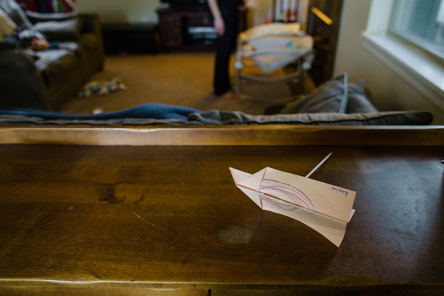 home made paper airplane