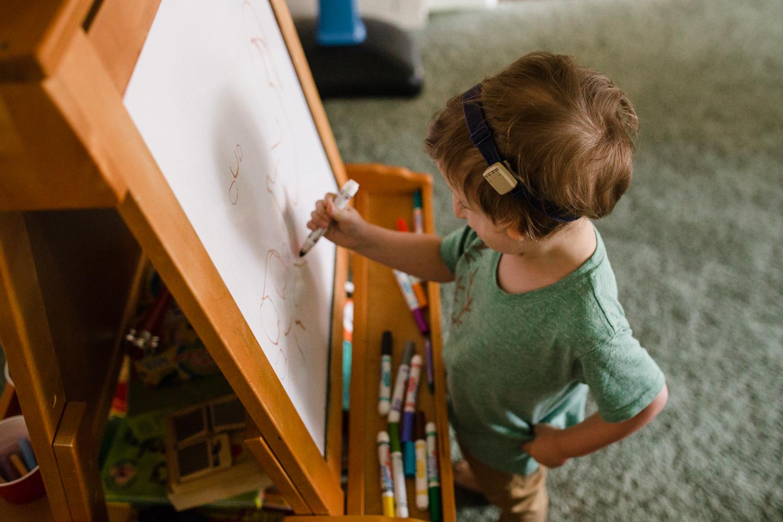 boy making art