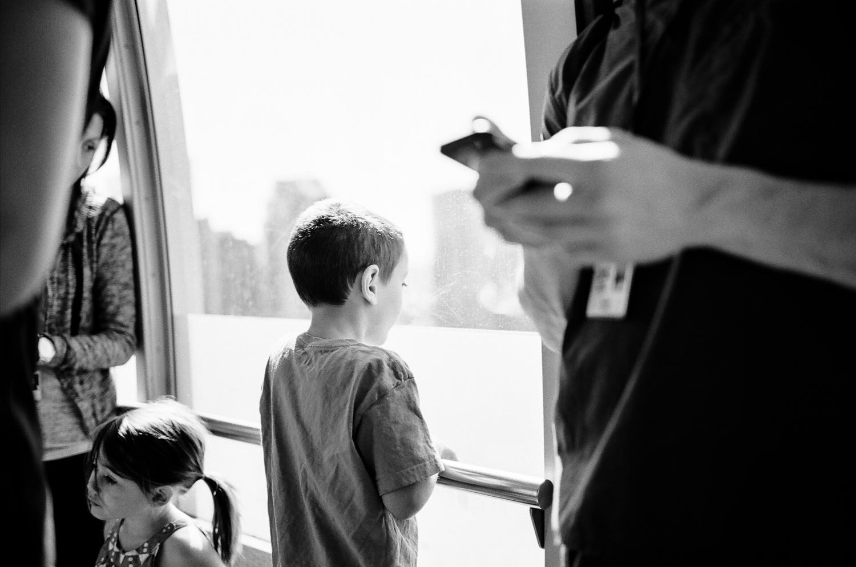 Family riding the Portland Tram