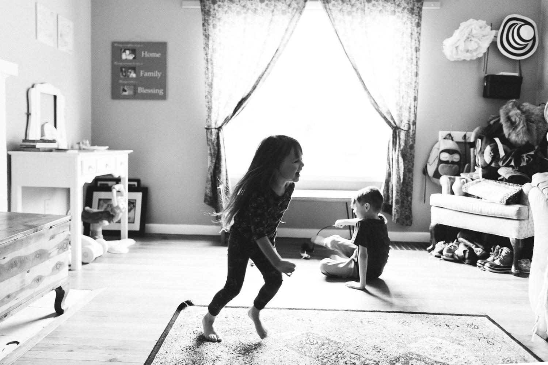 toddler running around at home