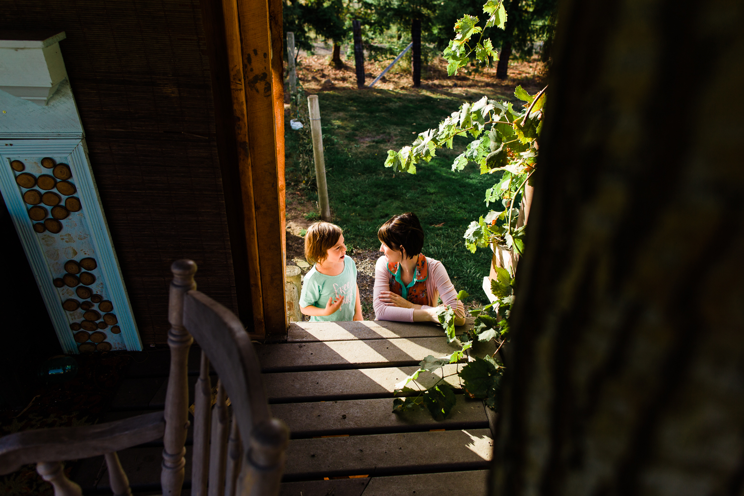 mom and son talking in tree house